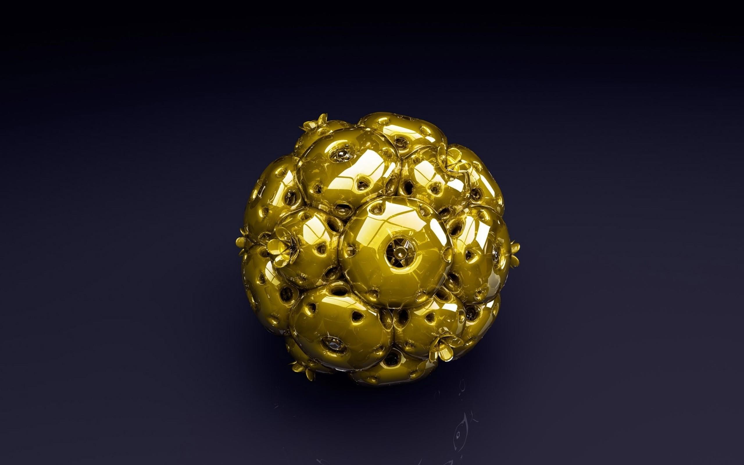 Wallpaper ball, shape, gold, metallic blue
