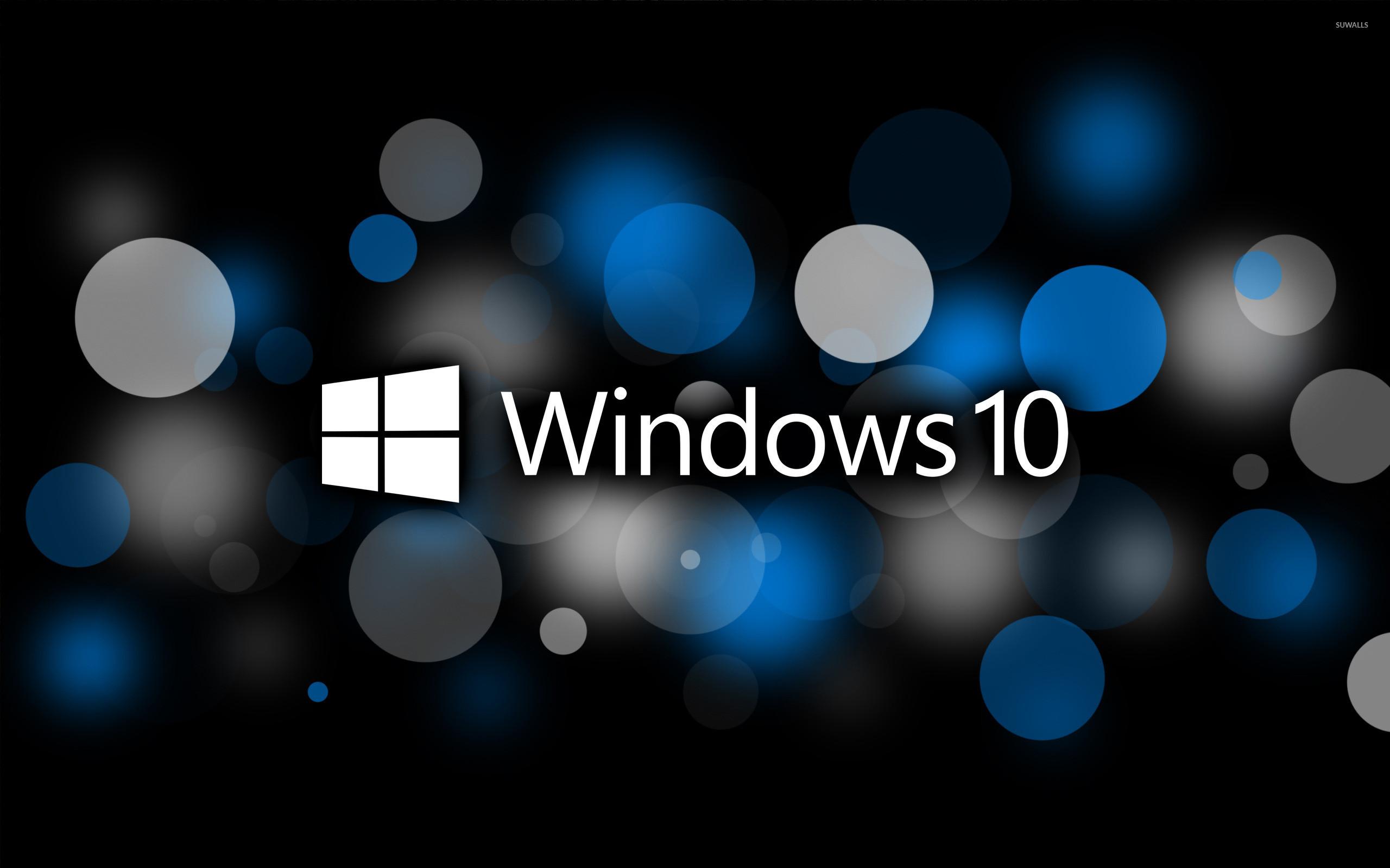 Windows 10 text logo on blue circles wallpaper jpg