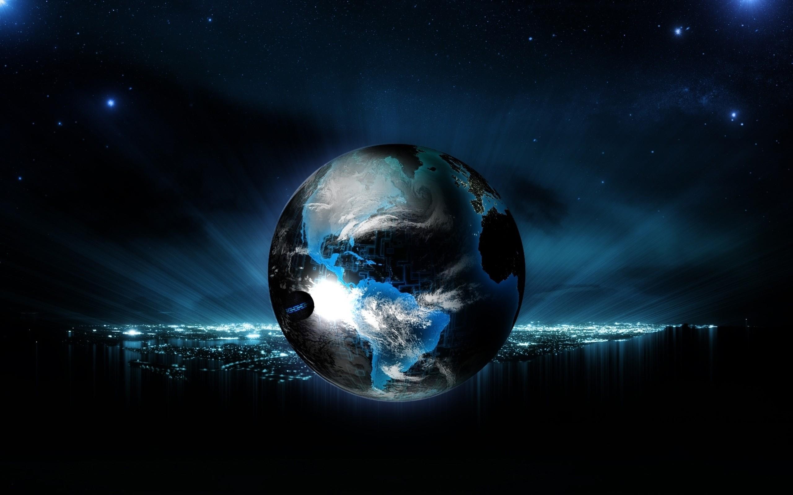 Wallpaper Ball, Globe, Planet, Light, Neon, Background