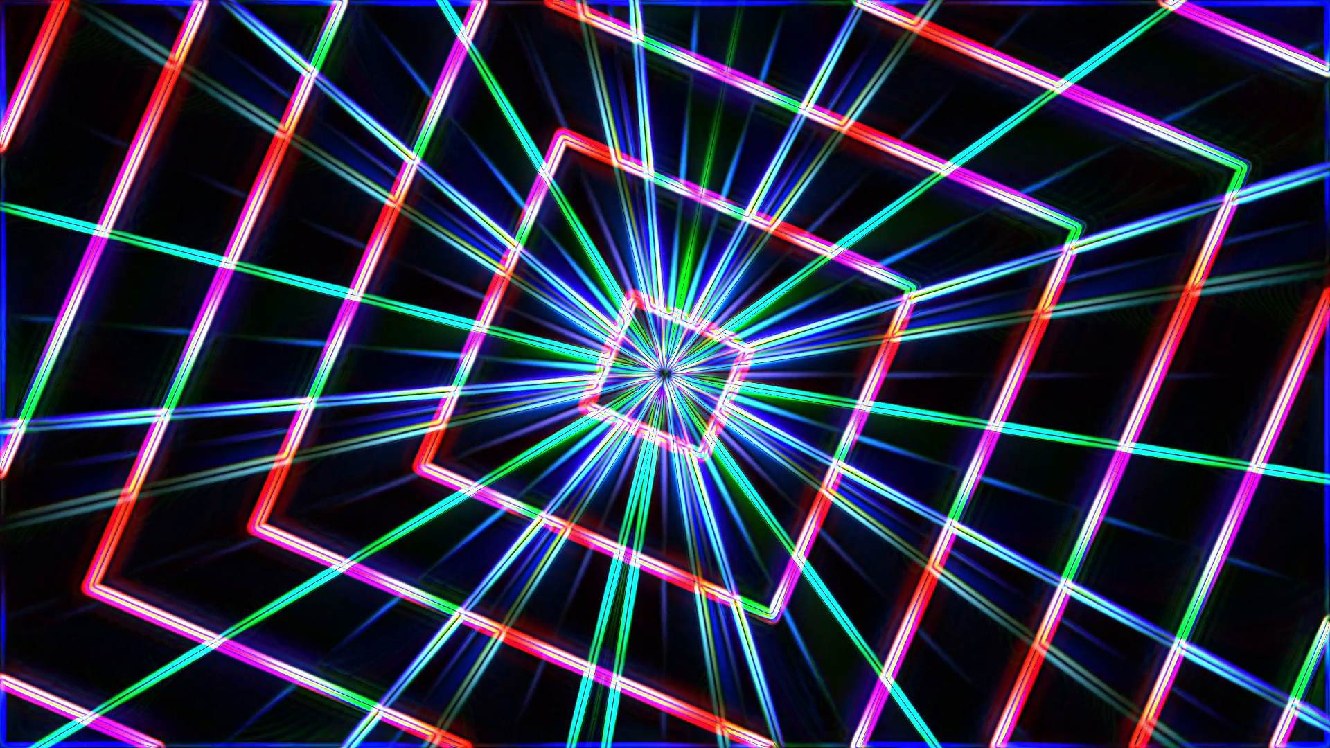 Subscription Library Neon lights squares tunnel star background loop – 1080p