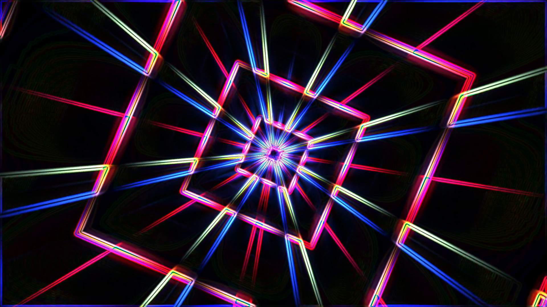 Subscription Library Neon lights star squares tunnel background loop – 1080p