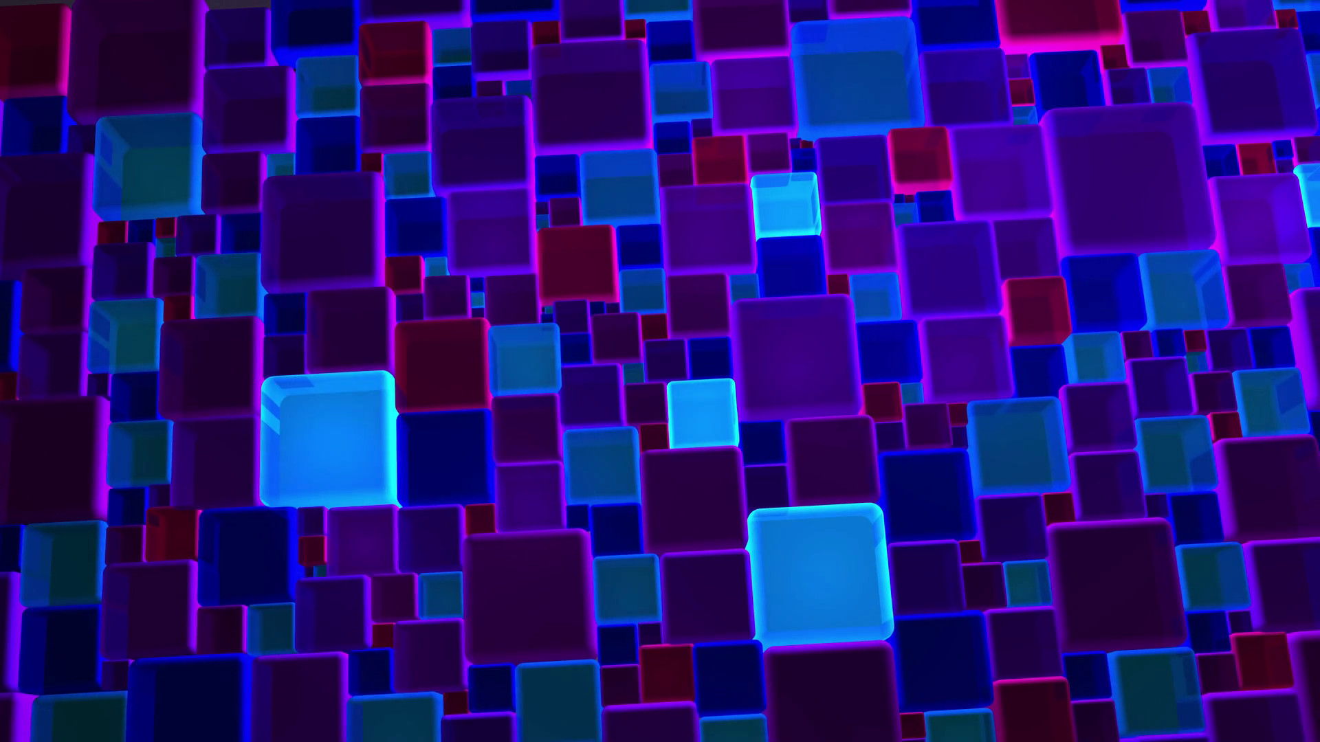 Subscription Library Neon Blue And Violet Lights Cubes Background In 4k