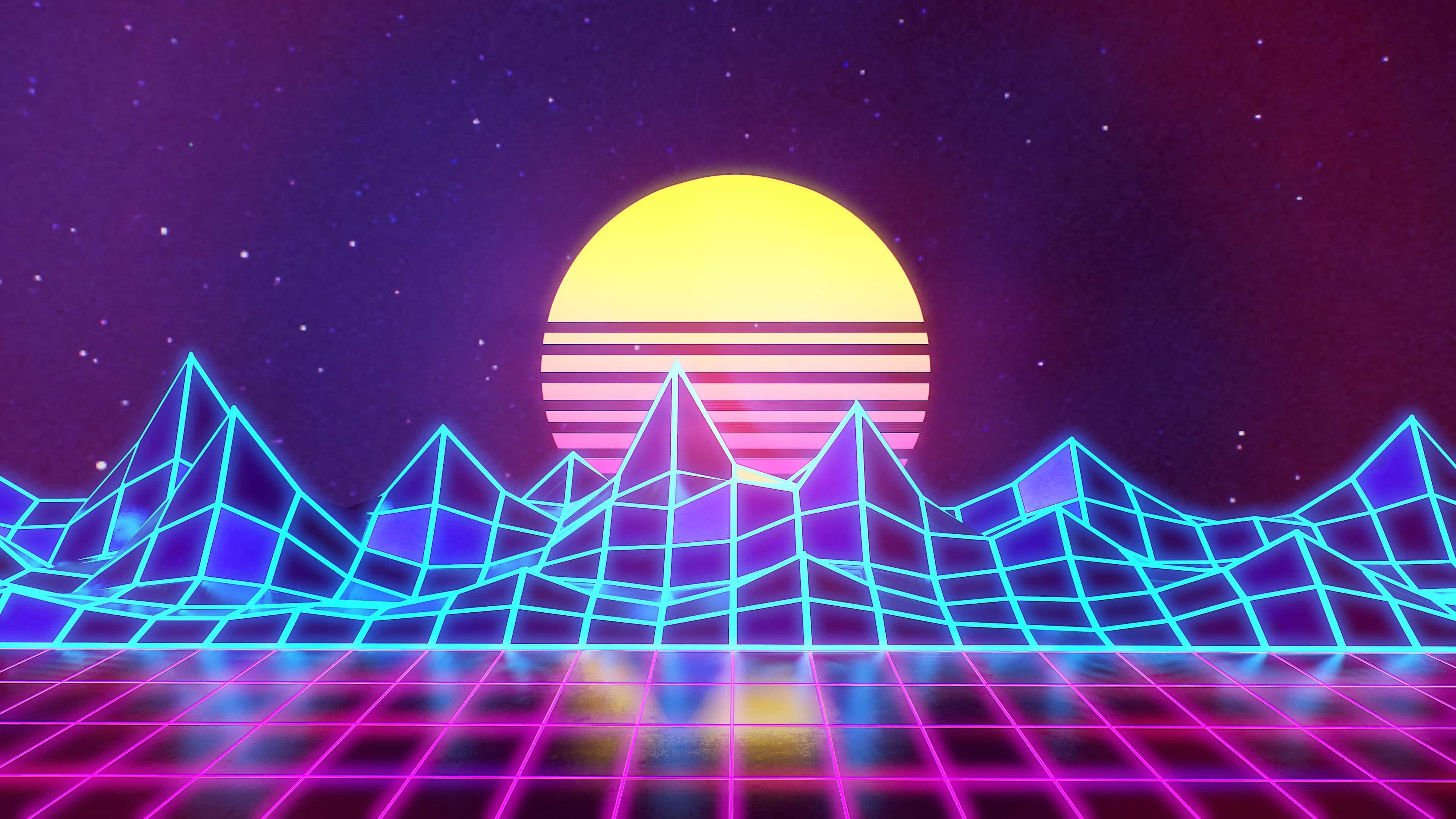 Synthwave – Neon 80s – Background – Marmoset Toolbag Render