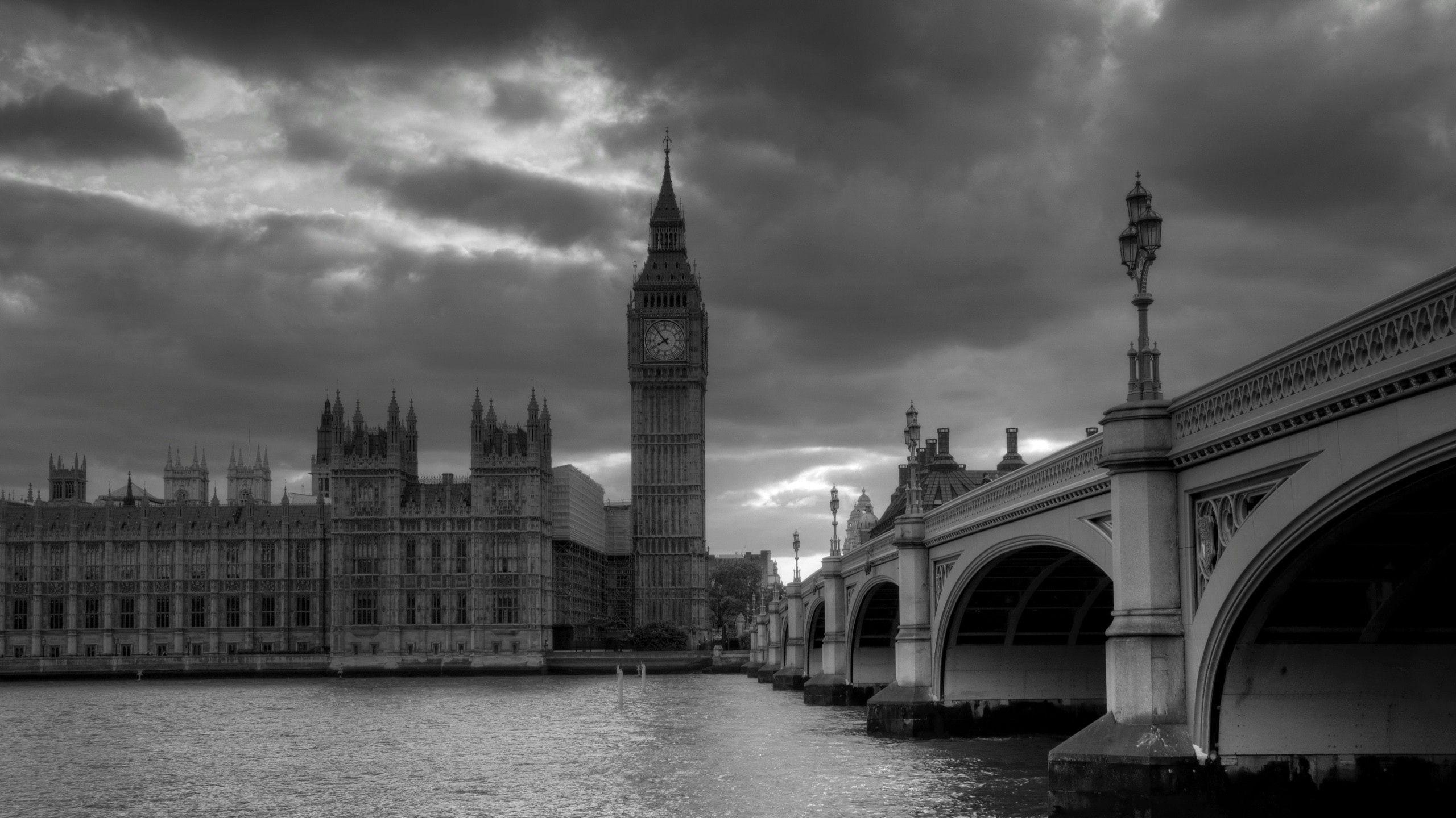 Download Wallpaper London, Bridge, Big ben, Black white .