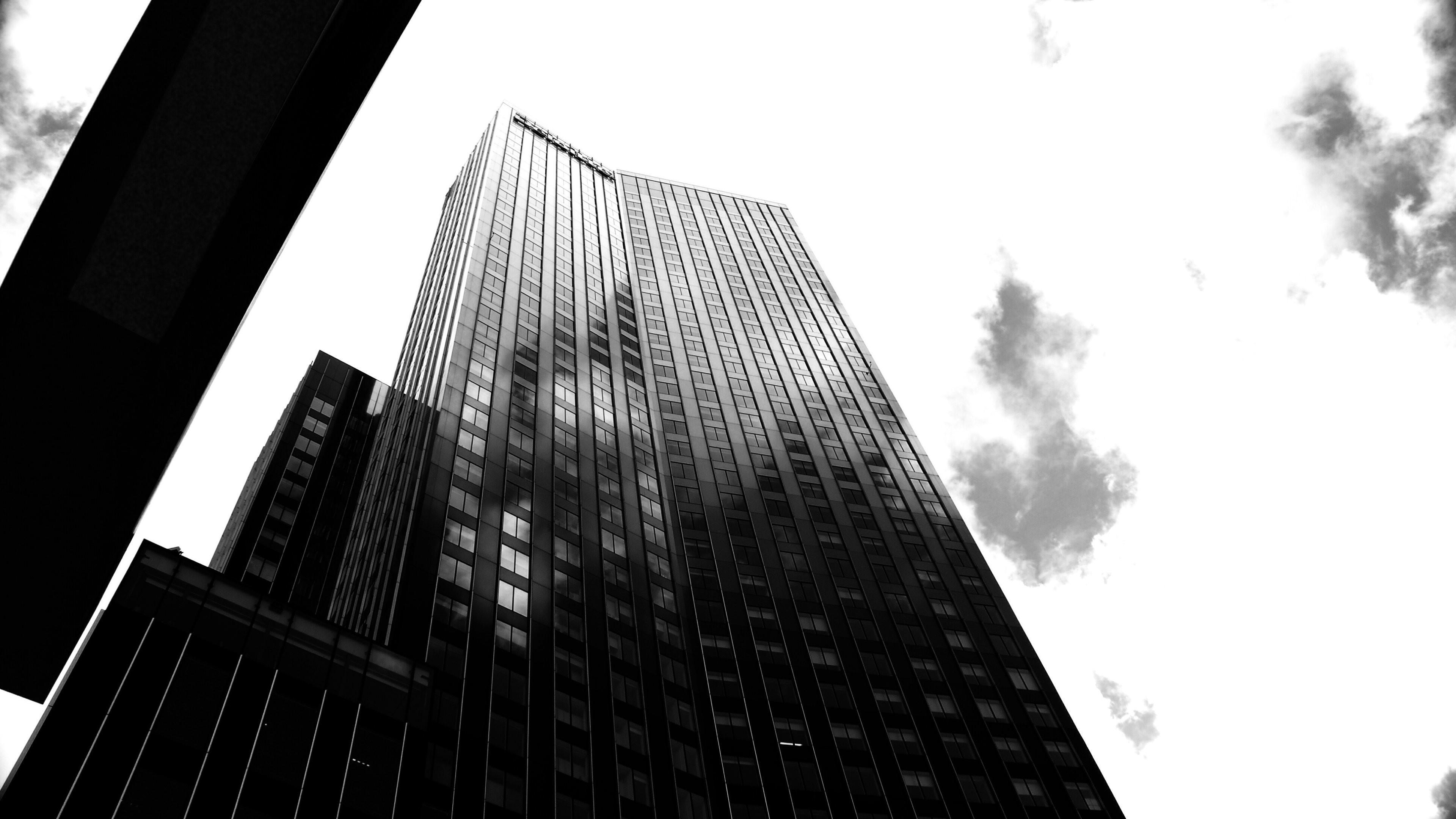 Wallpaper: Skyscraper from Rotterdam in black and white. Ultra HD 4K  3840×2160