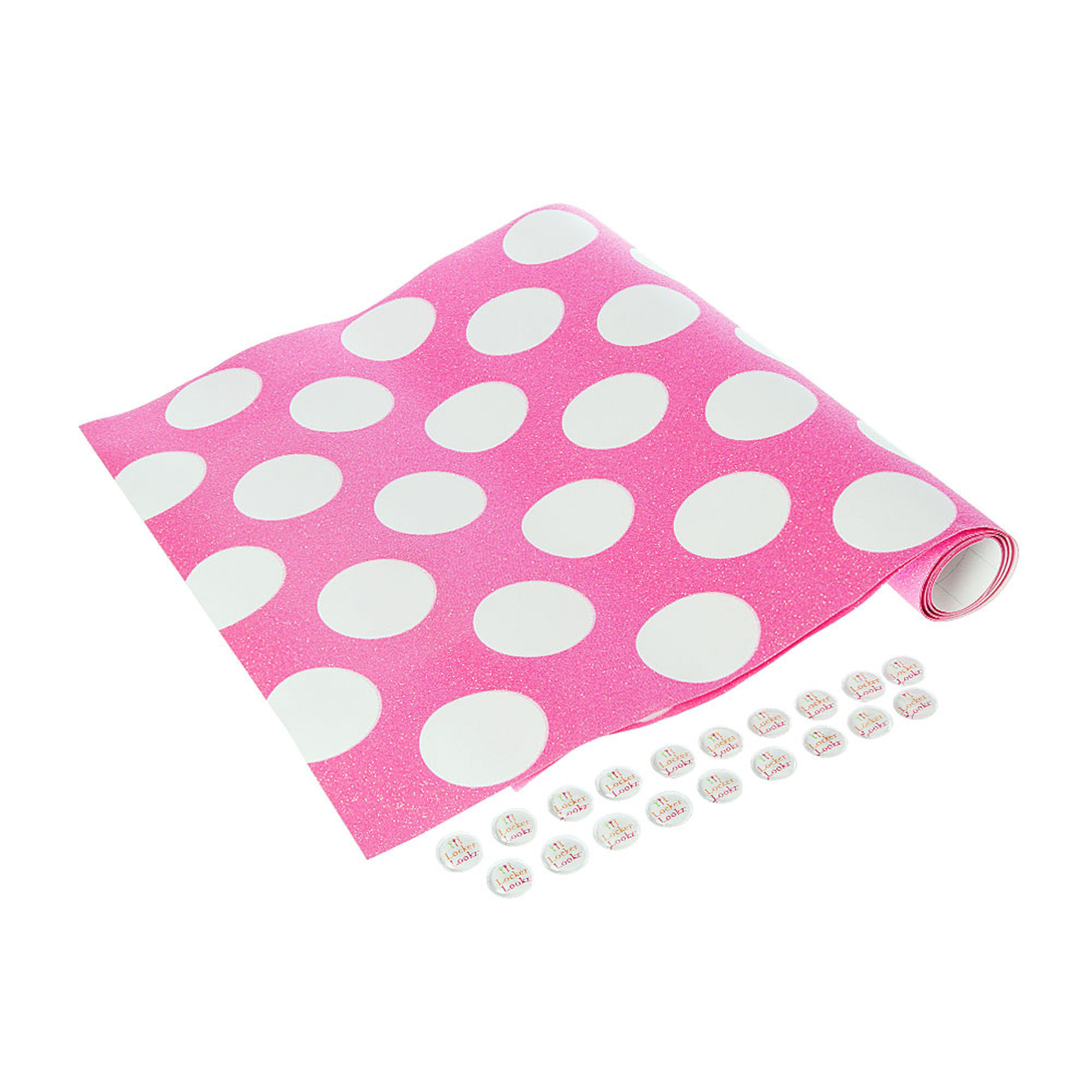 … LockerLookz Pink and White Polka Dots Wallpaper, …