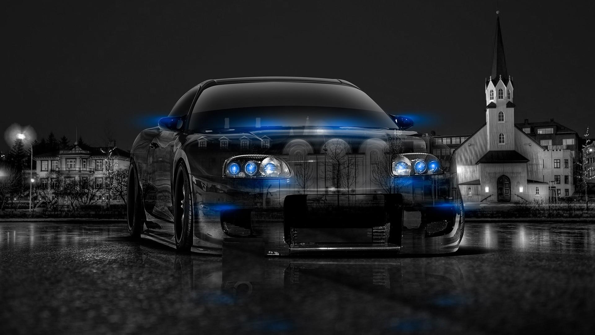Abstract Black Blue Toyota Supra HD Wallpaper