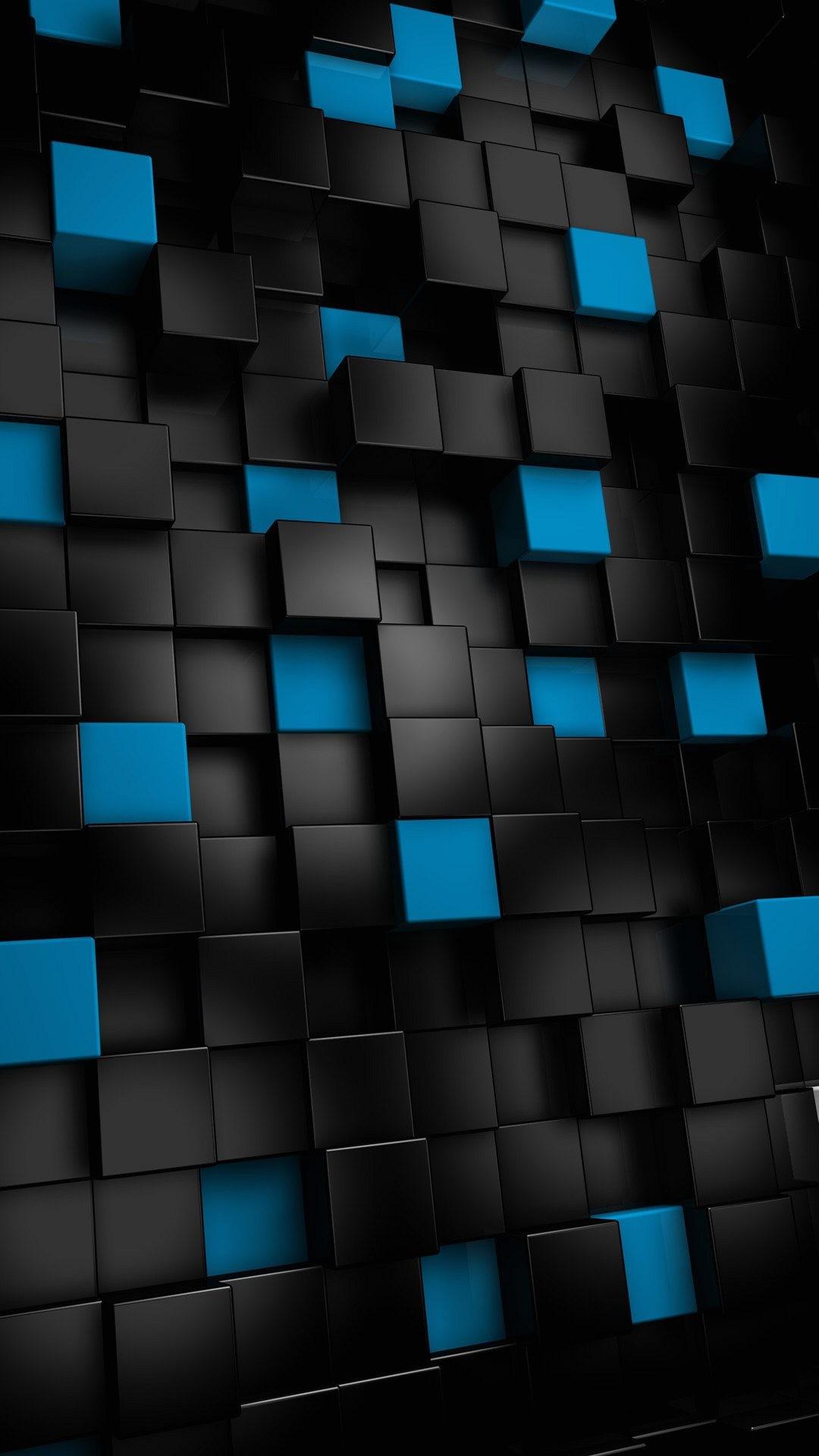 Wallpaper full hd 1080 x 1920 smartphone 3d cubes black blue