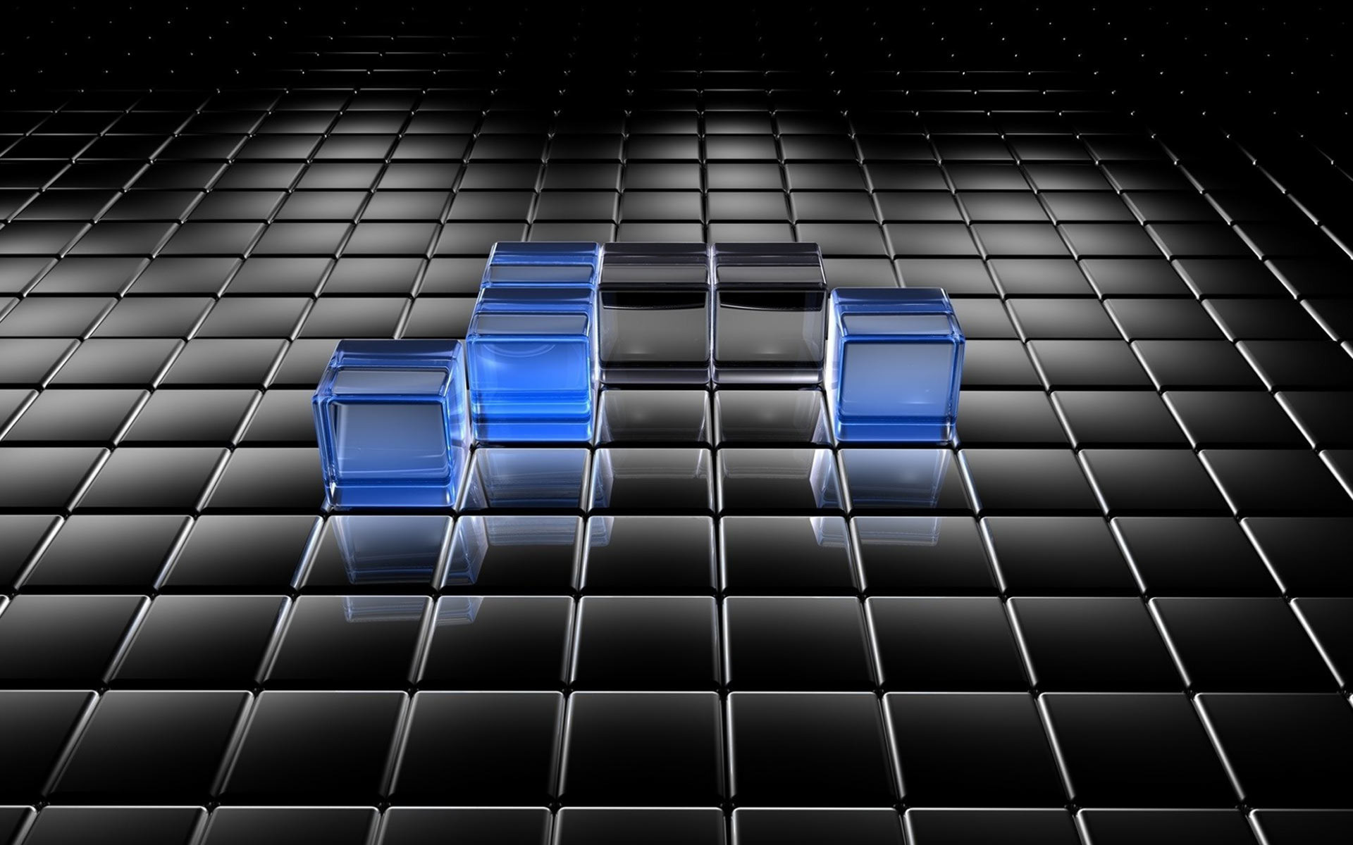 Black and blue translucent cubes wallpaper #118