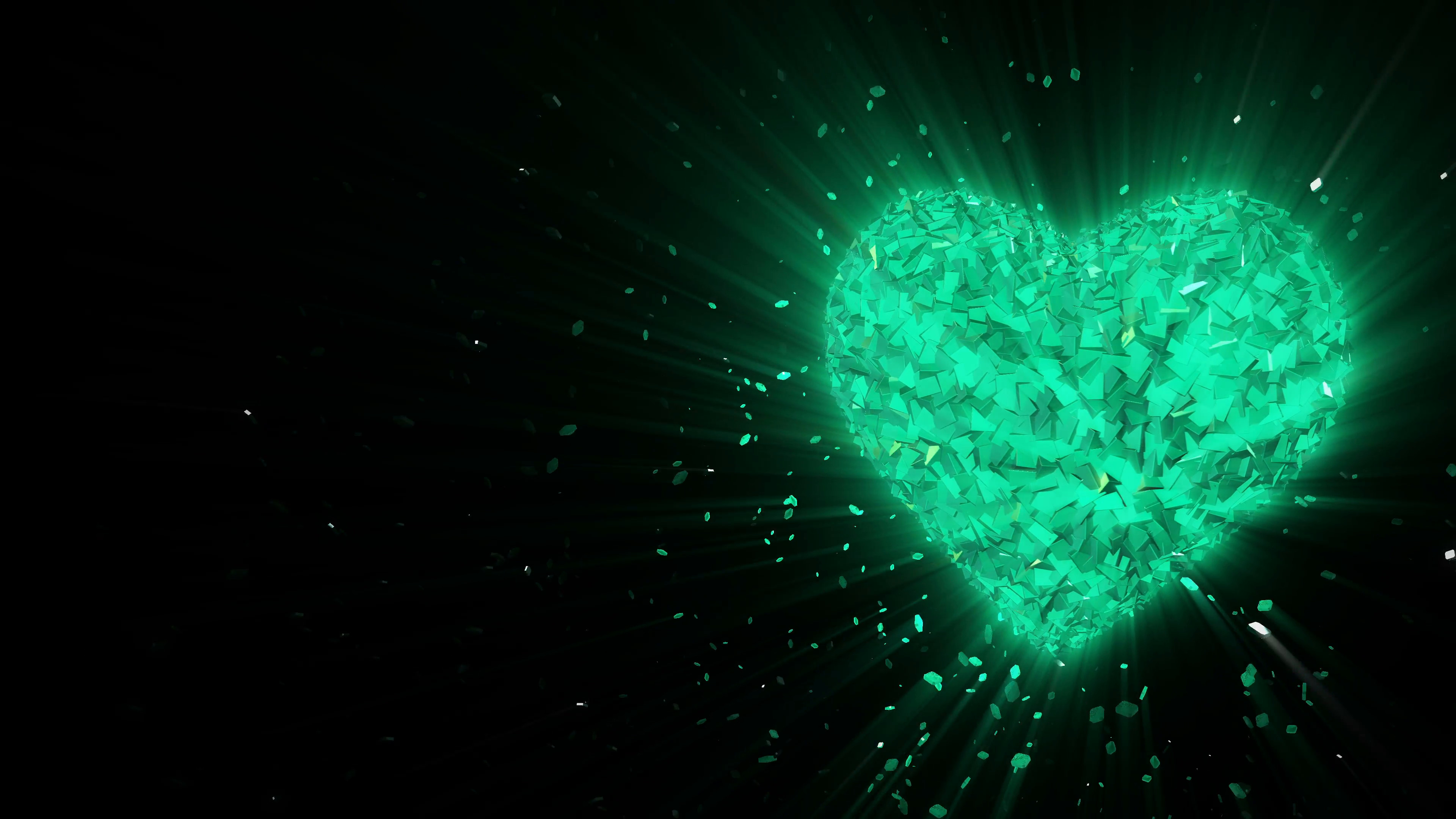 Subscription Library Abstract looped animated background: Rotating luminous  3d emerald heart formed pieces and cubes of green
