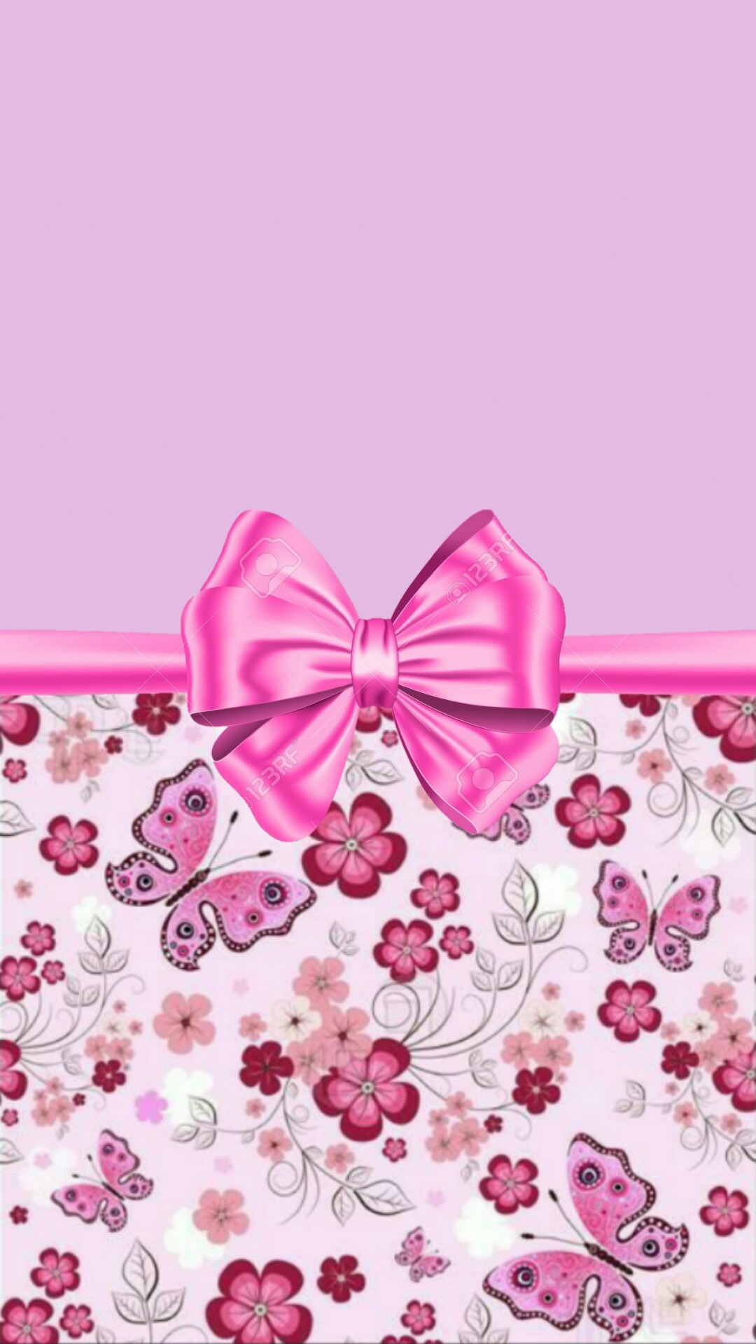 Purple and pink with flowers and bow