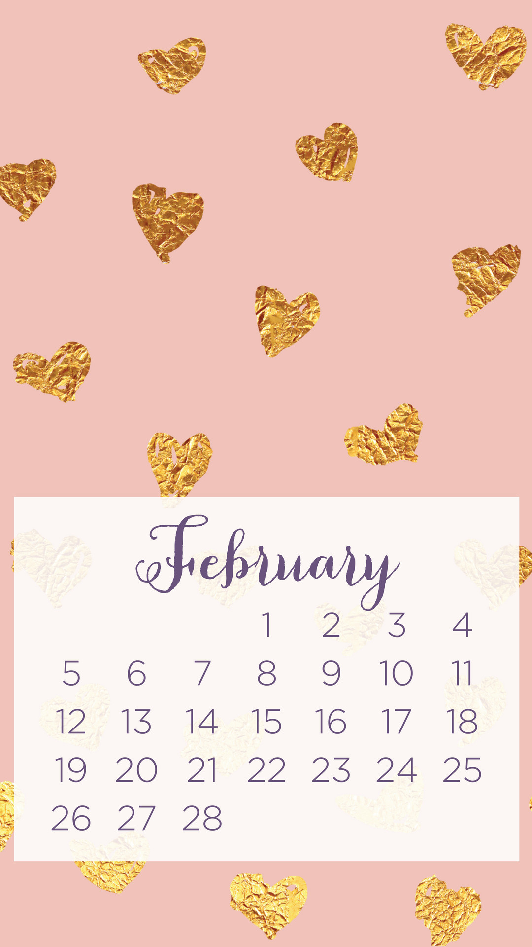Click to download the pink background February calendar wallpaper.