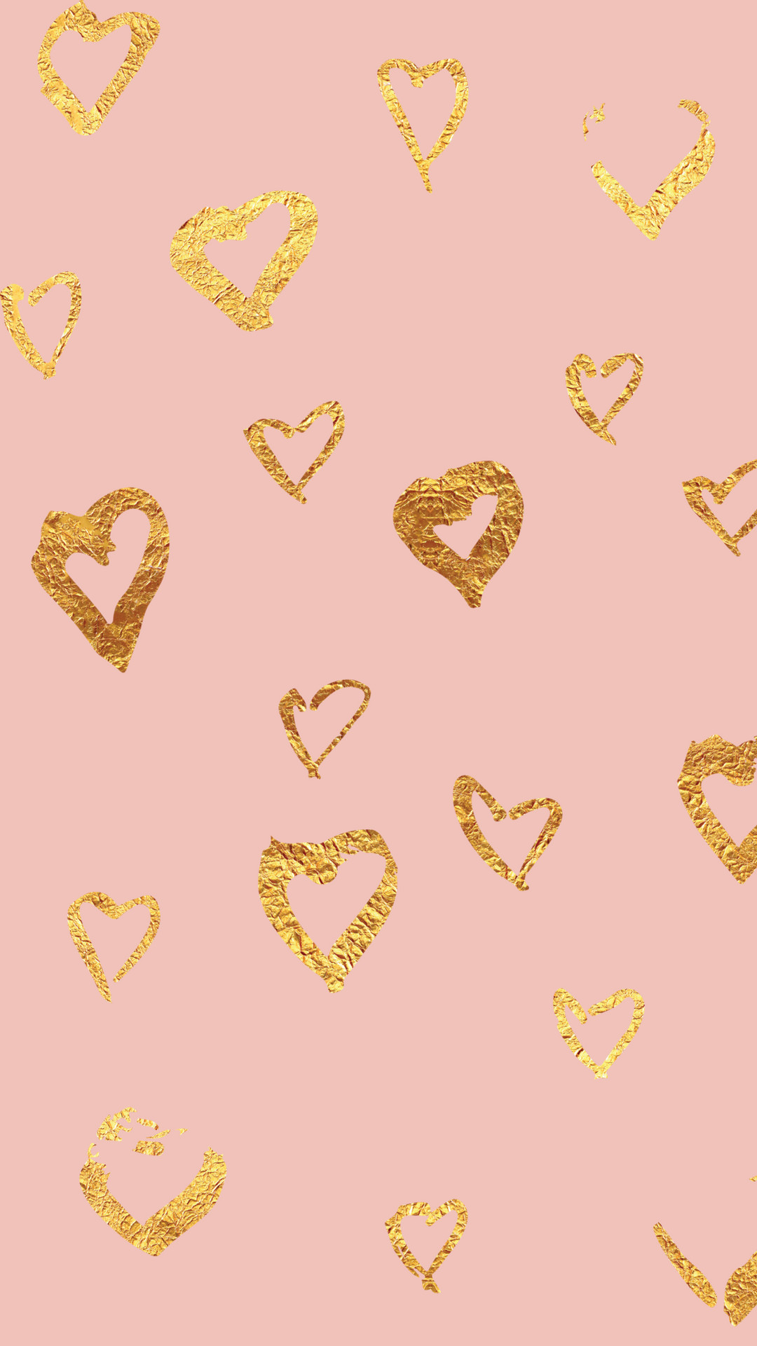 Click to download pink open foil heart wallpaper.