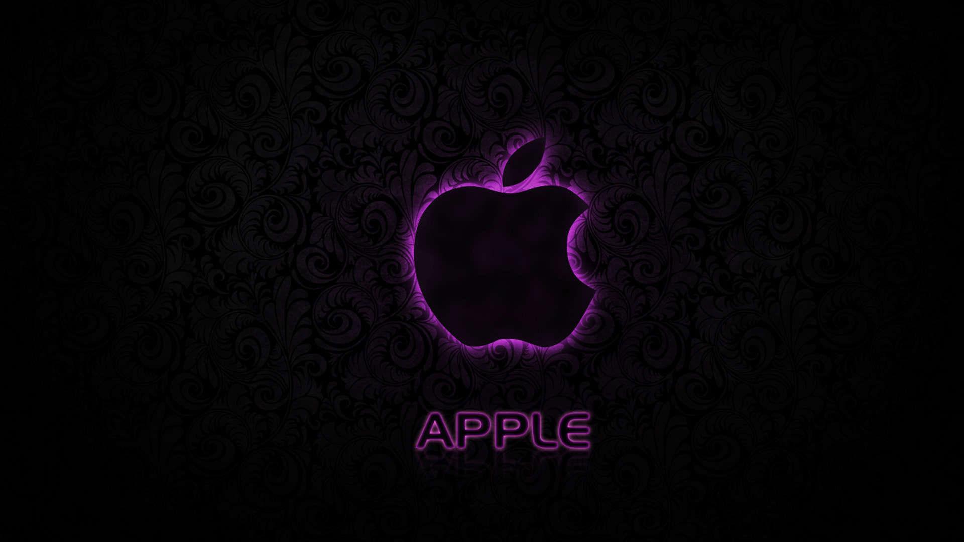 hd pics photos nice apple logo dark neon purple hd quality desktop  background wallpaper
