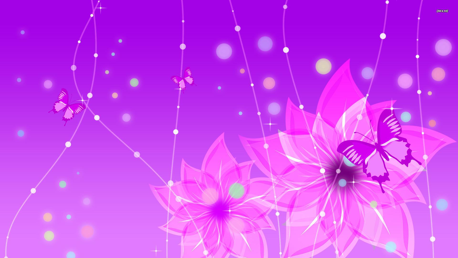 Purple flowers and butterfies Vector desktop wallpaper, Butterfly wallpaper,  Purple wallpaper – Vector no.