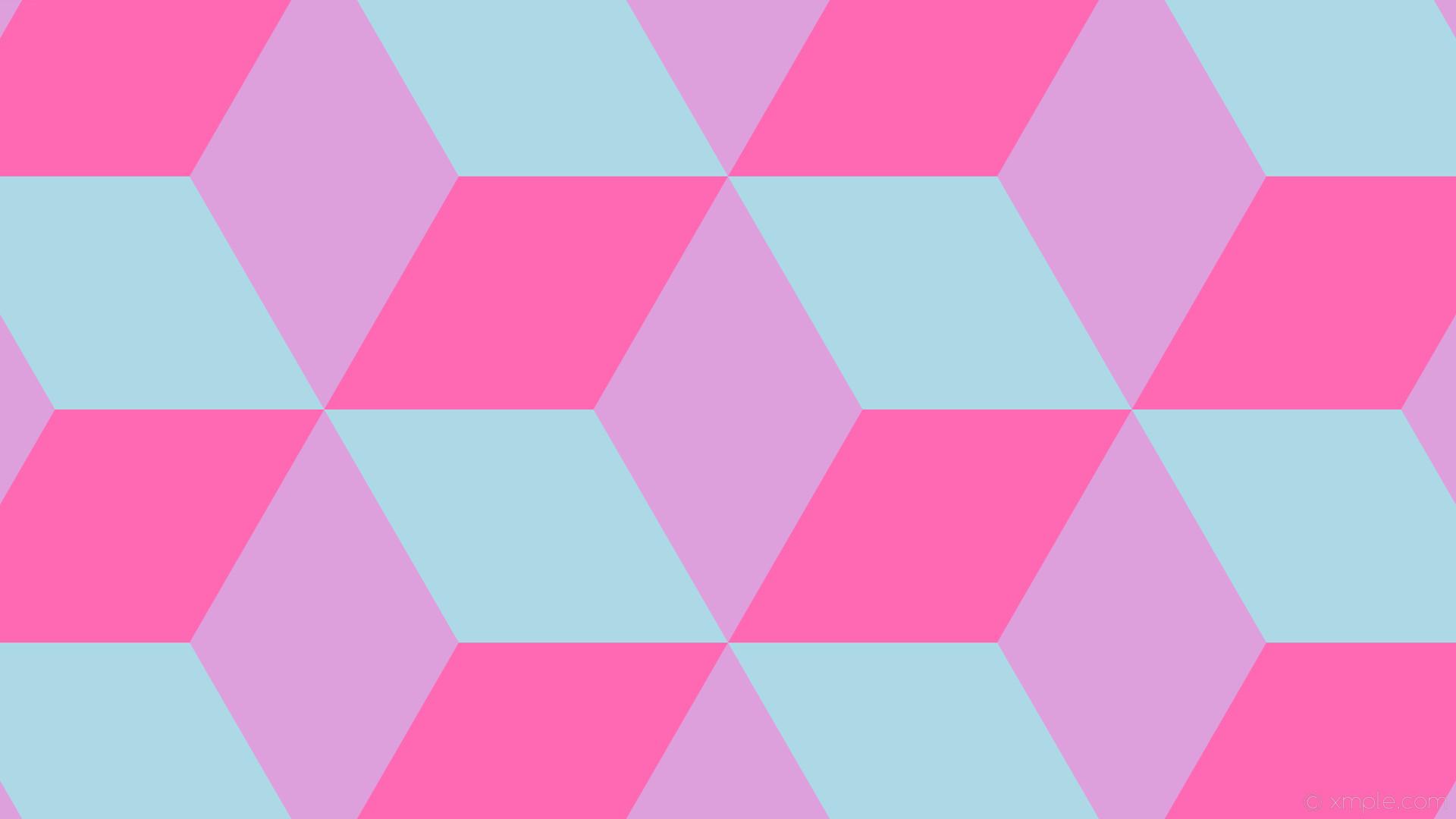 wallpaper pink purple blue 3d cubes plum hot pink light blue #dda0dd  #ff69b4 #
