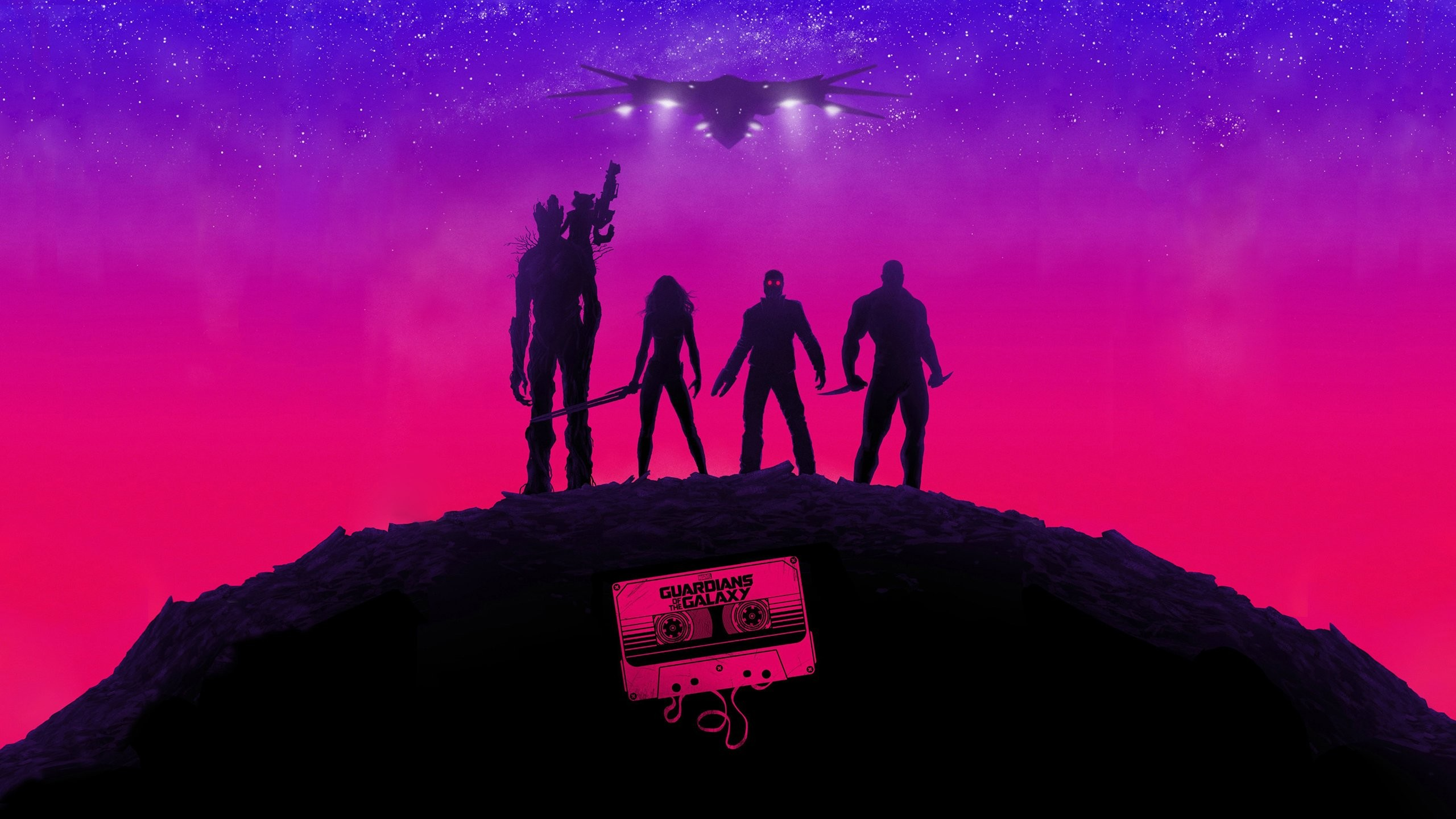 Guardians of the GalaxyMarvel Stars Purple Pink Cassette Tape Spaceship  wallpaper