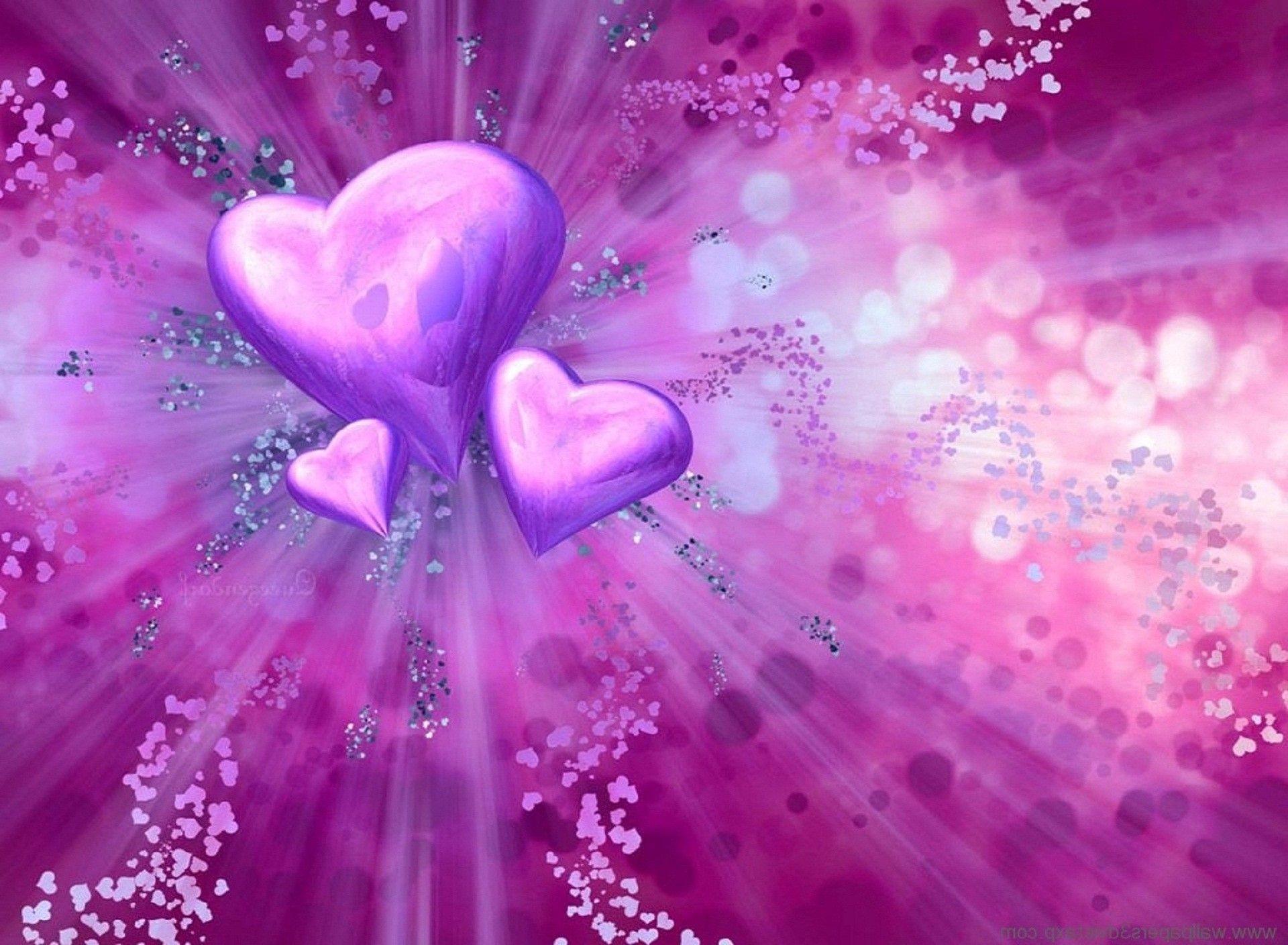 3d love heart purple wallpaper