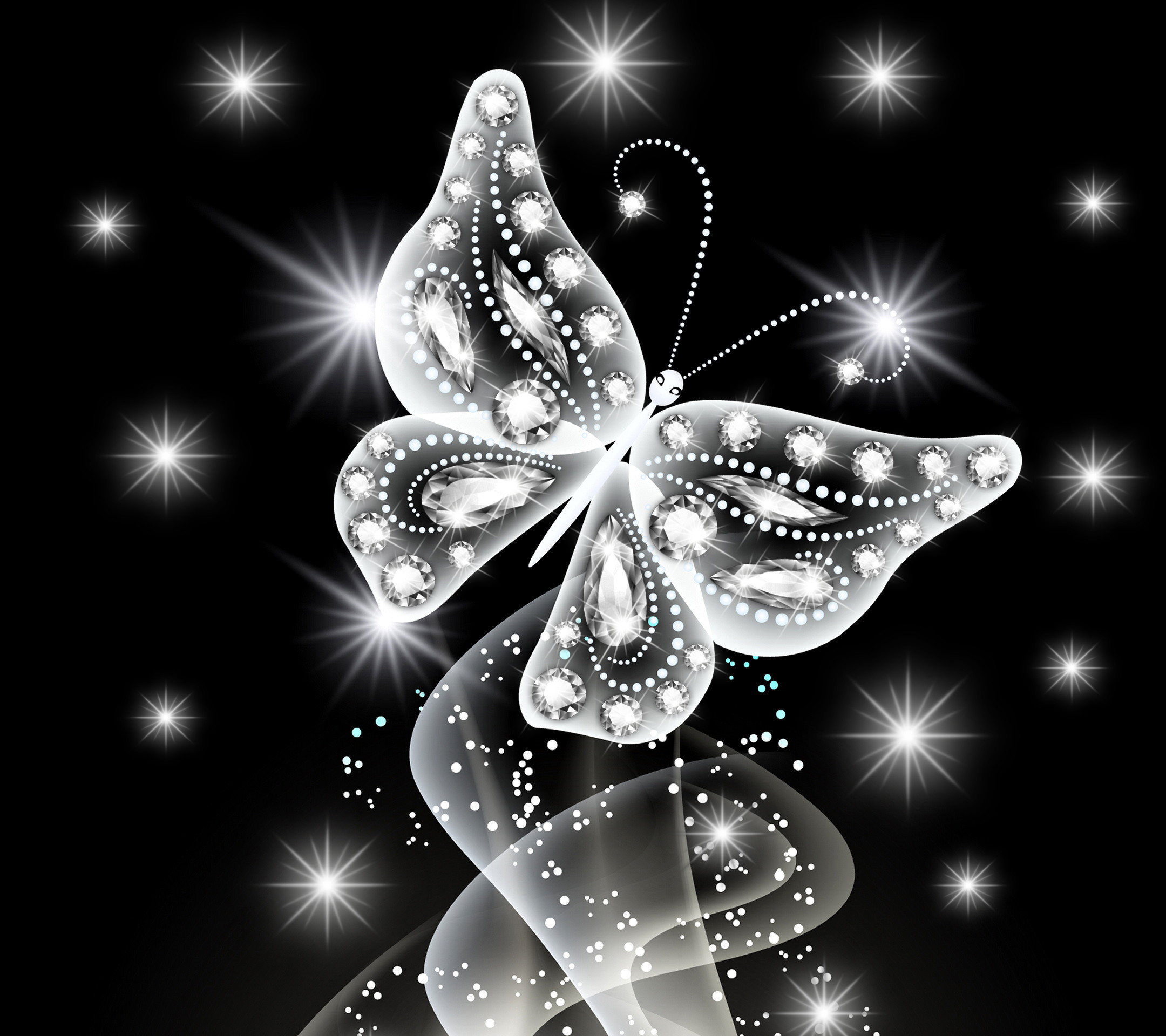 Wallpaper neon, butterfly, abstract, white, diamonds, jem, sparkle .