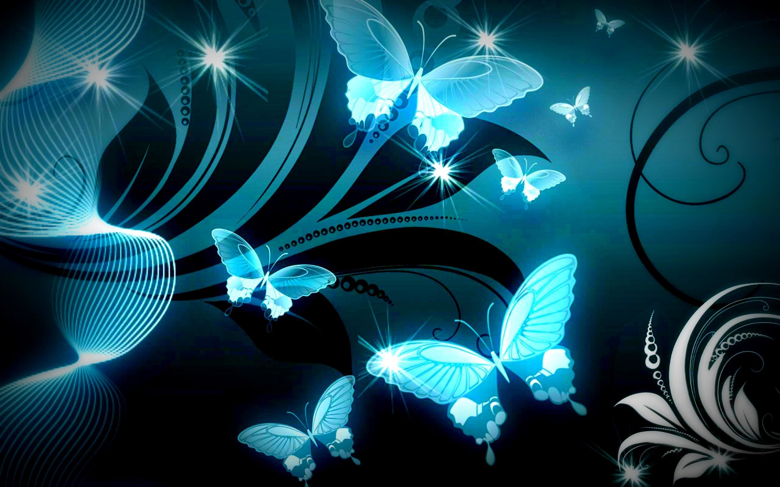 SPARKLE BLUE BUTTERFLIES WALLPAPER – (#117796) – HD Wallpapers .
