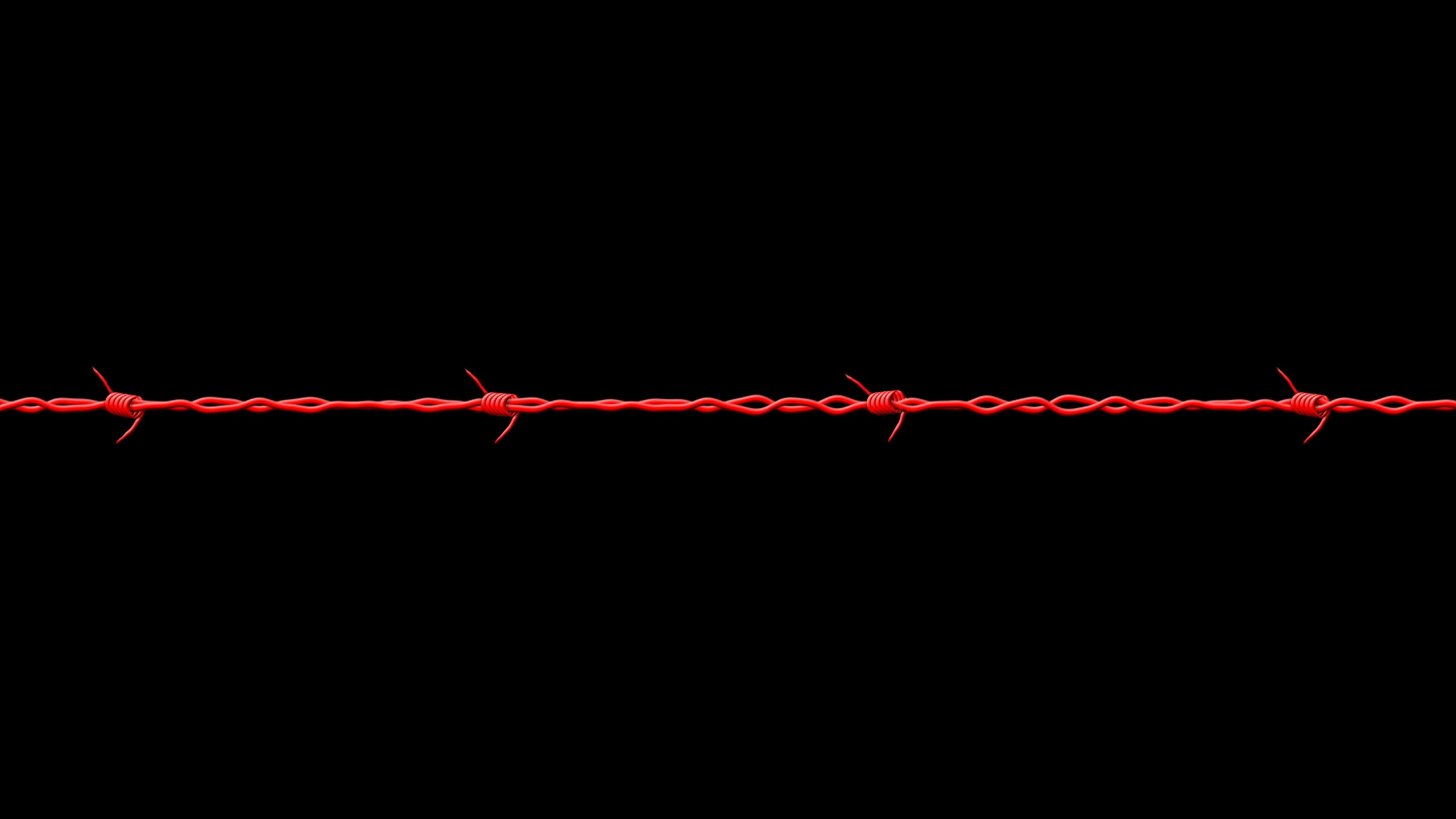 Preview wallpaper black, barbed wire, red 3840×2160