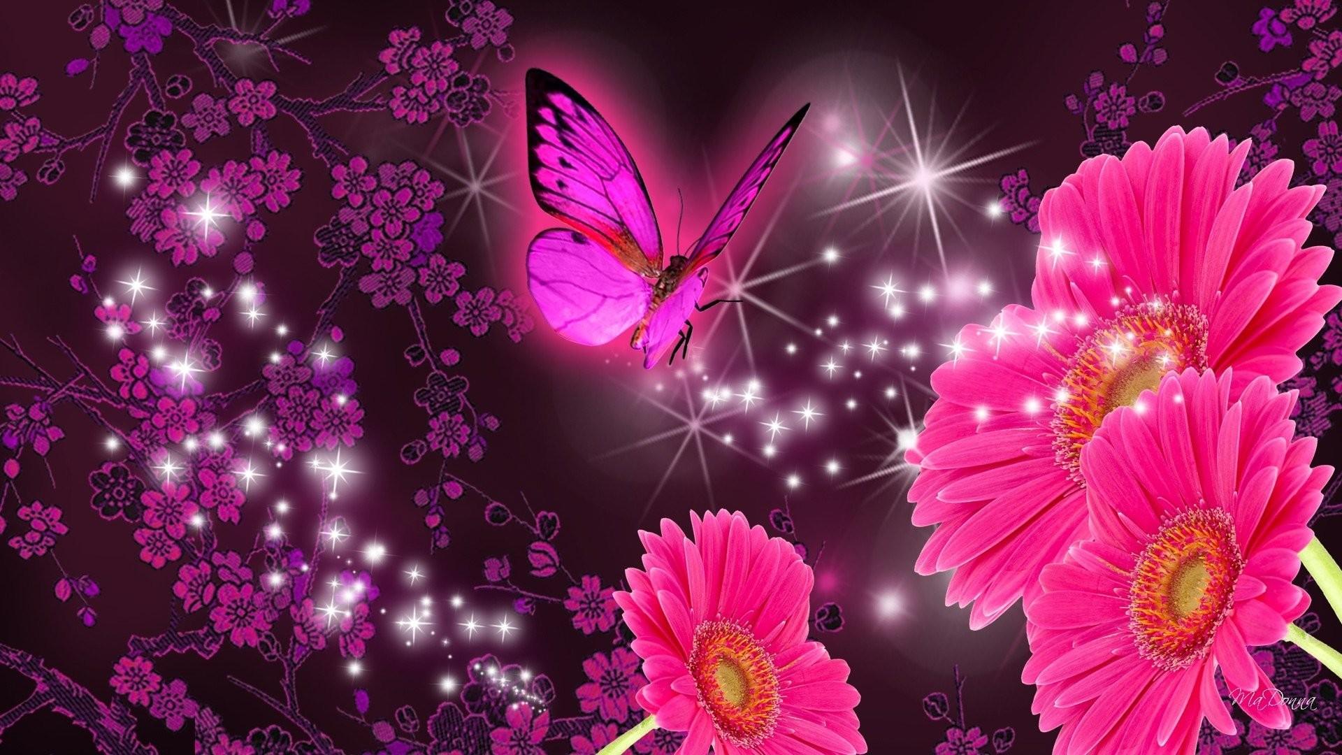 Artistic – Flower Artistic Gerbera Daisy Butterfly Sparkles Wallpaper