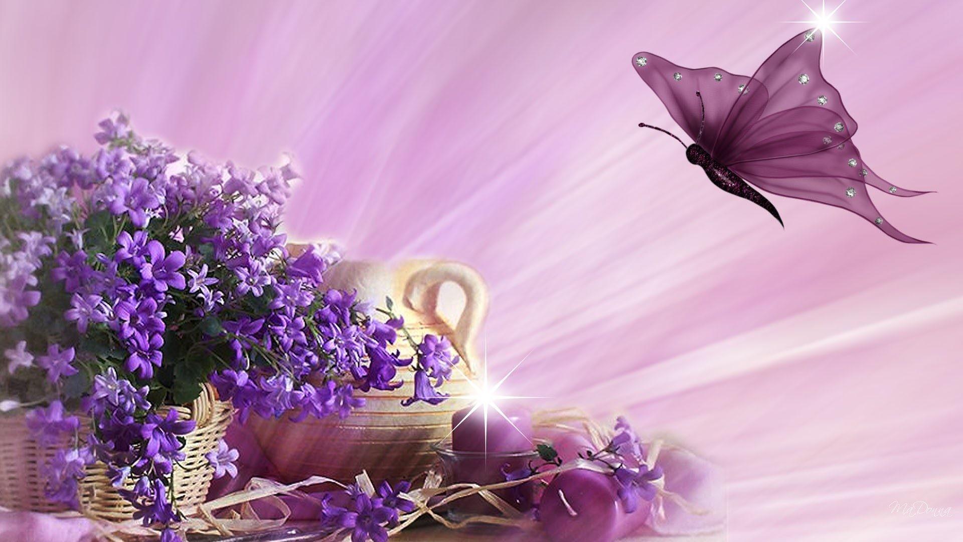 Purple butterfly flying wallpaper 2