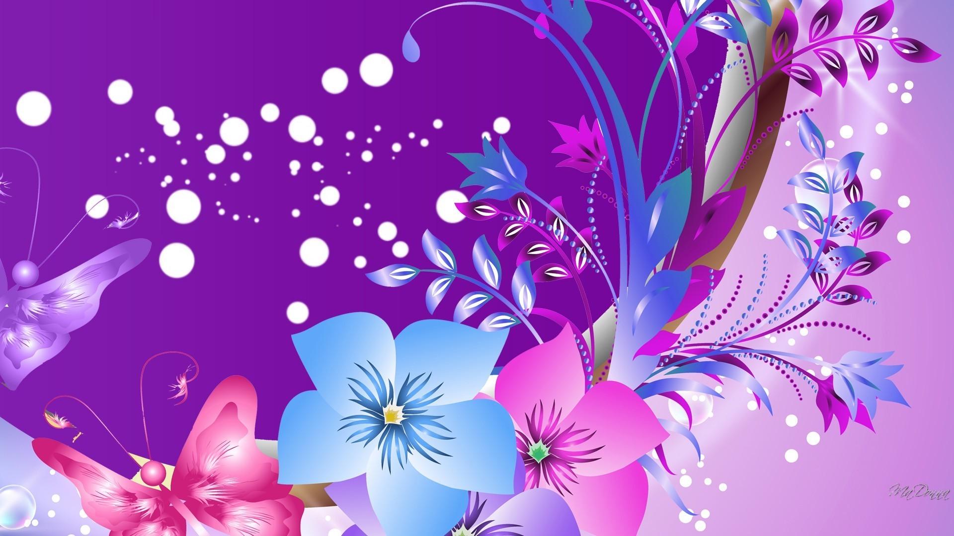 Butterflies Tag – Summer Purple Dots Butterflies Abstract Pink Flowers  Flower Screen Wallpapers for HD 16