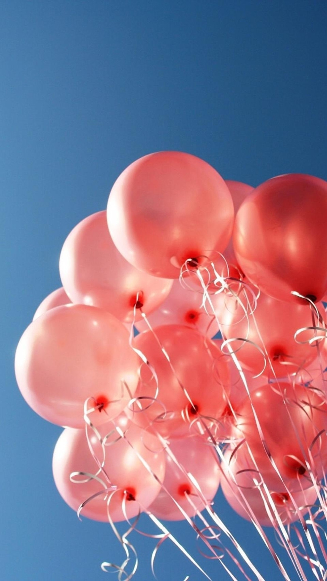 Happy Balloon Bunch In Pure Blue Sky #iPhone #6 #plus #wallpaper