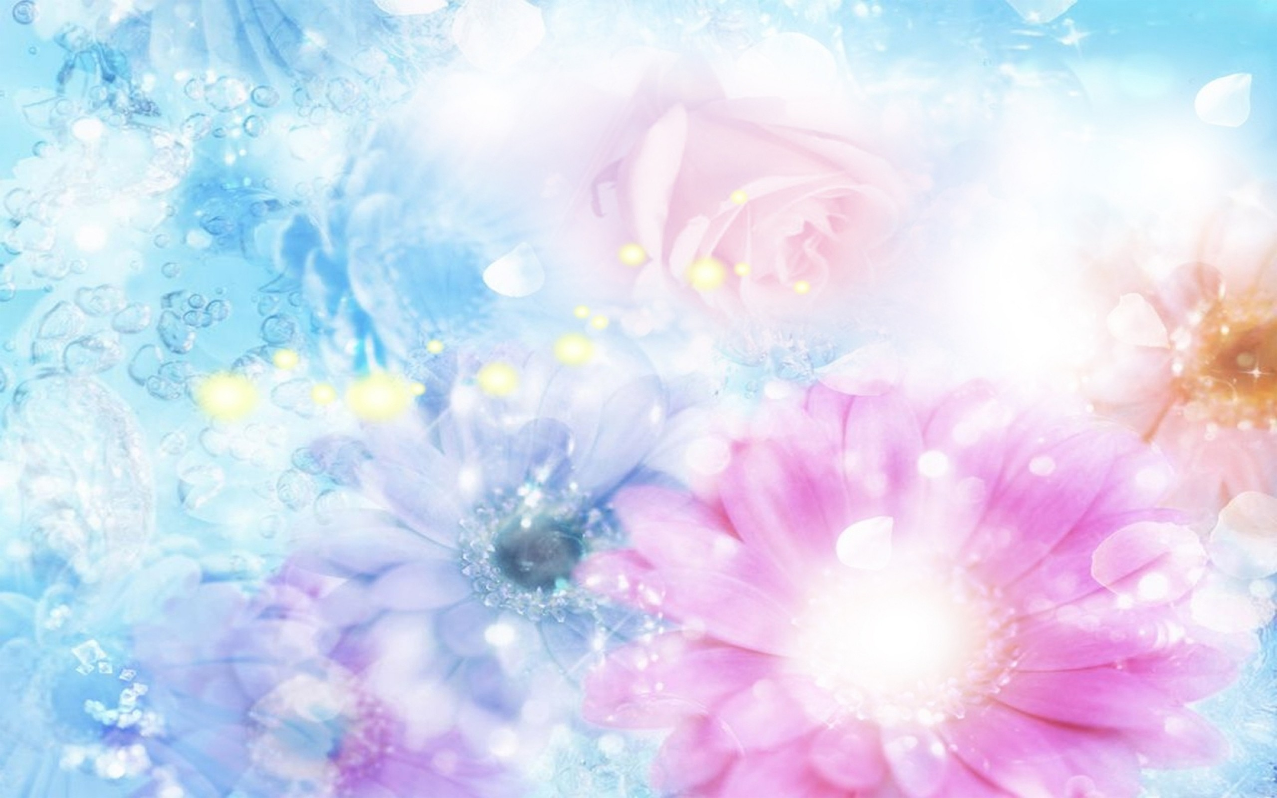 Wallpaper pink, blue, flowers, blurred, background, effects