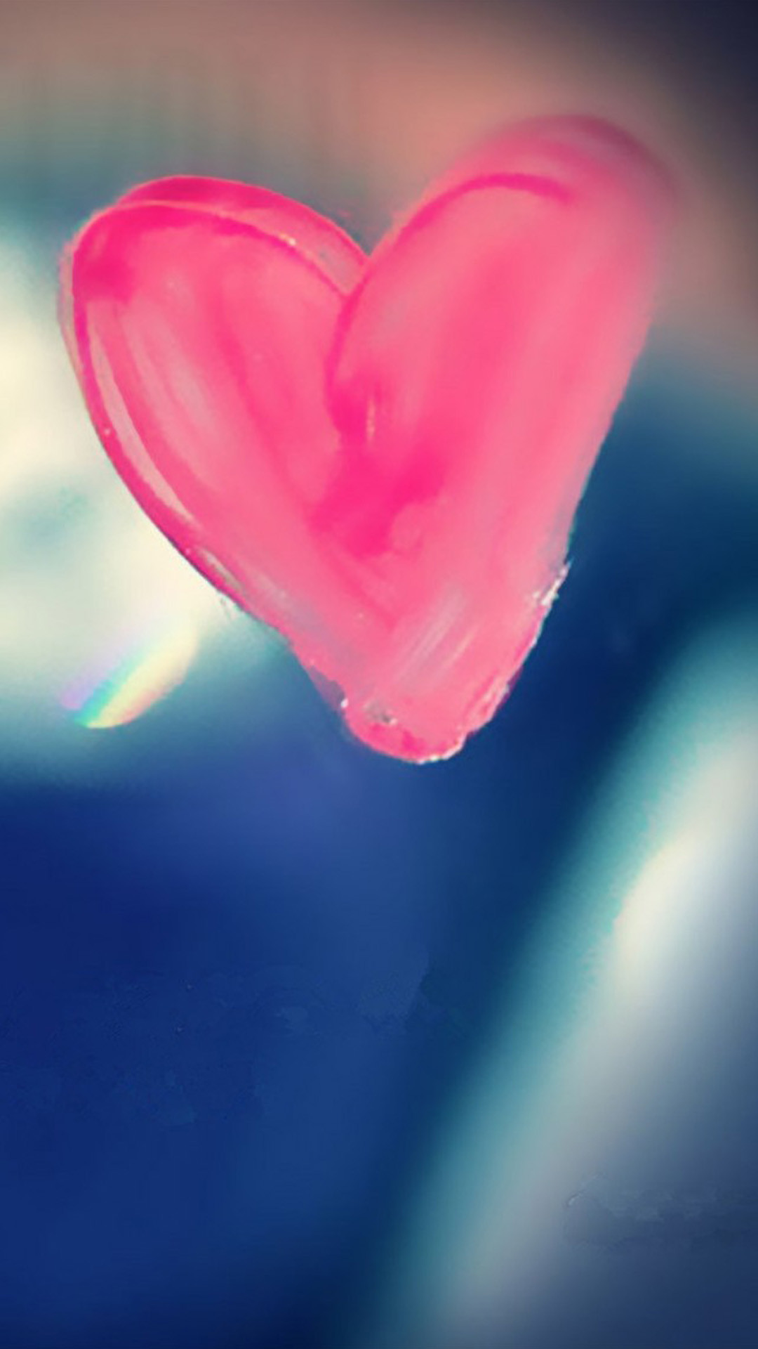 Pure Pink Love Heart Drawn On Glass Window iPhone 8 wallpaper