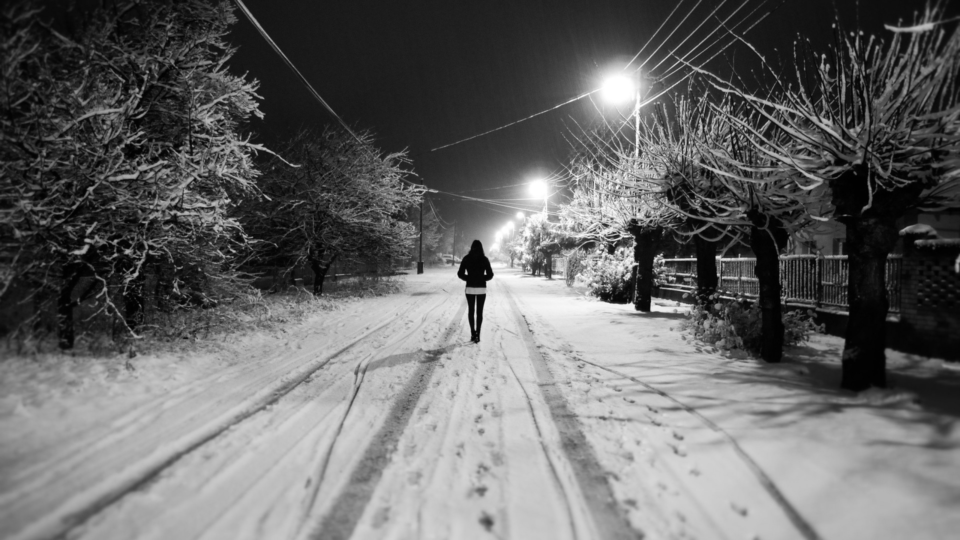 Black and White Snow Night Girl Resolution
