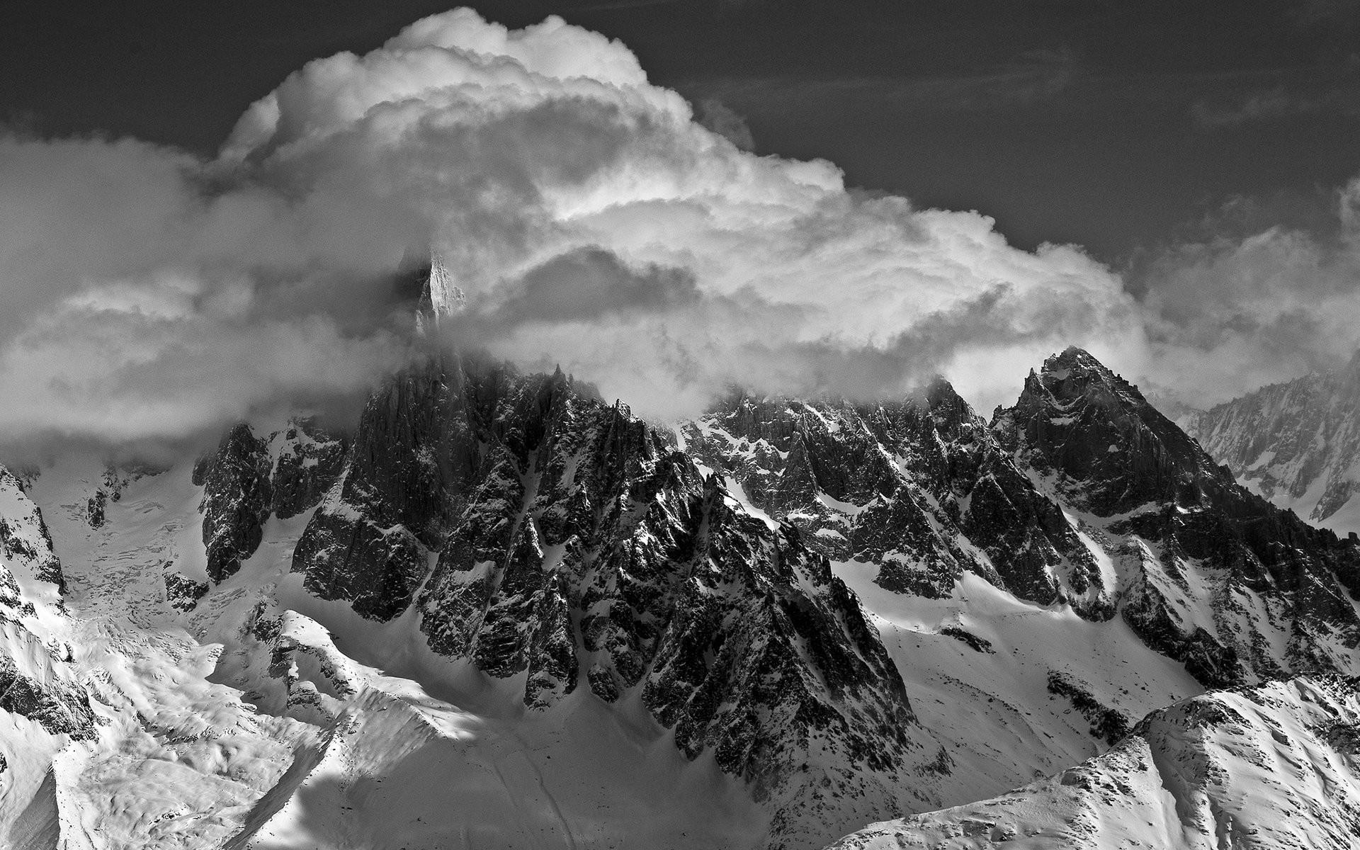 … nature-landscapes-mountains-monochrome-black-white-sky-clouds- …
