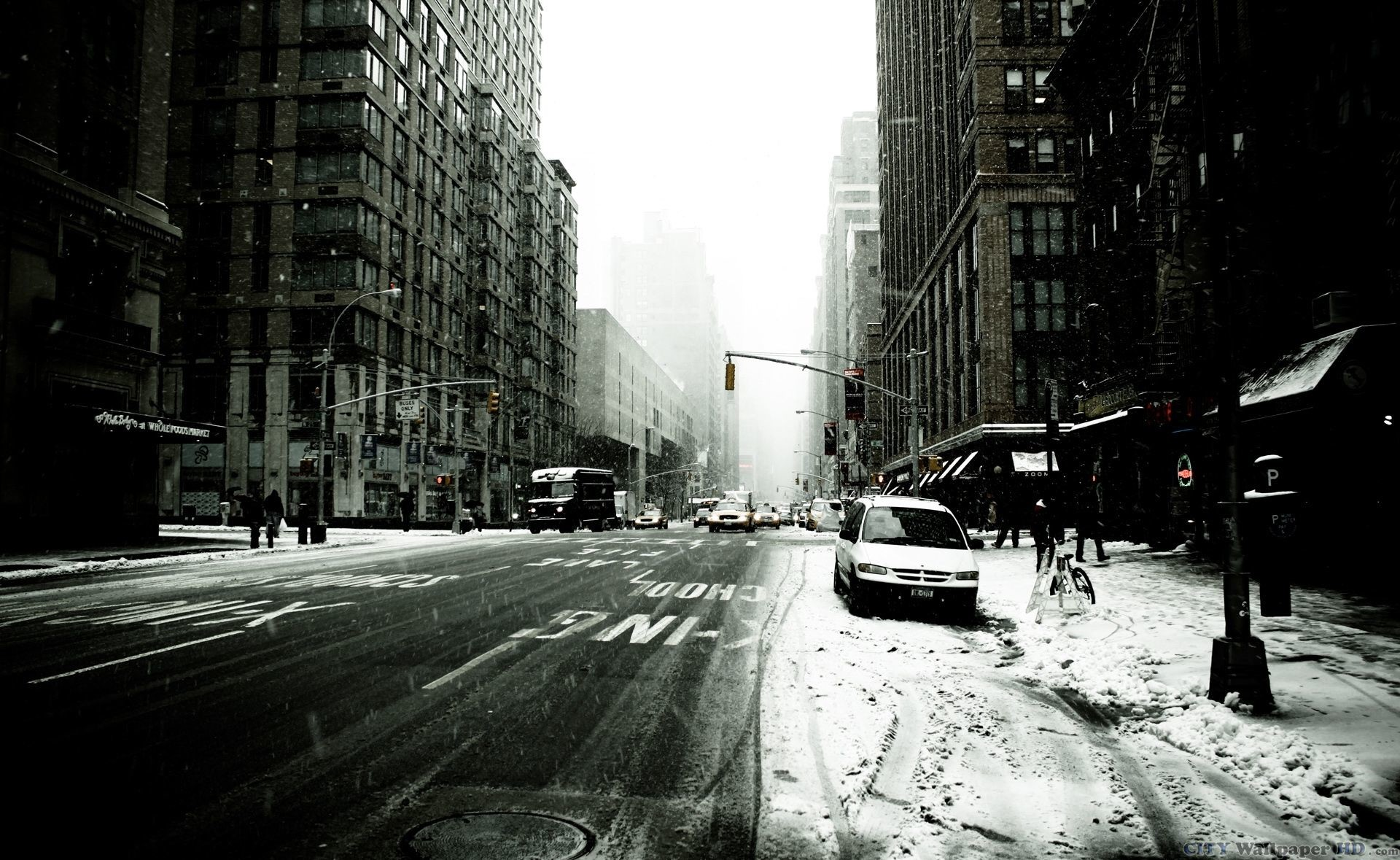 Black and white photo of a snowy, frosty New York
