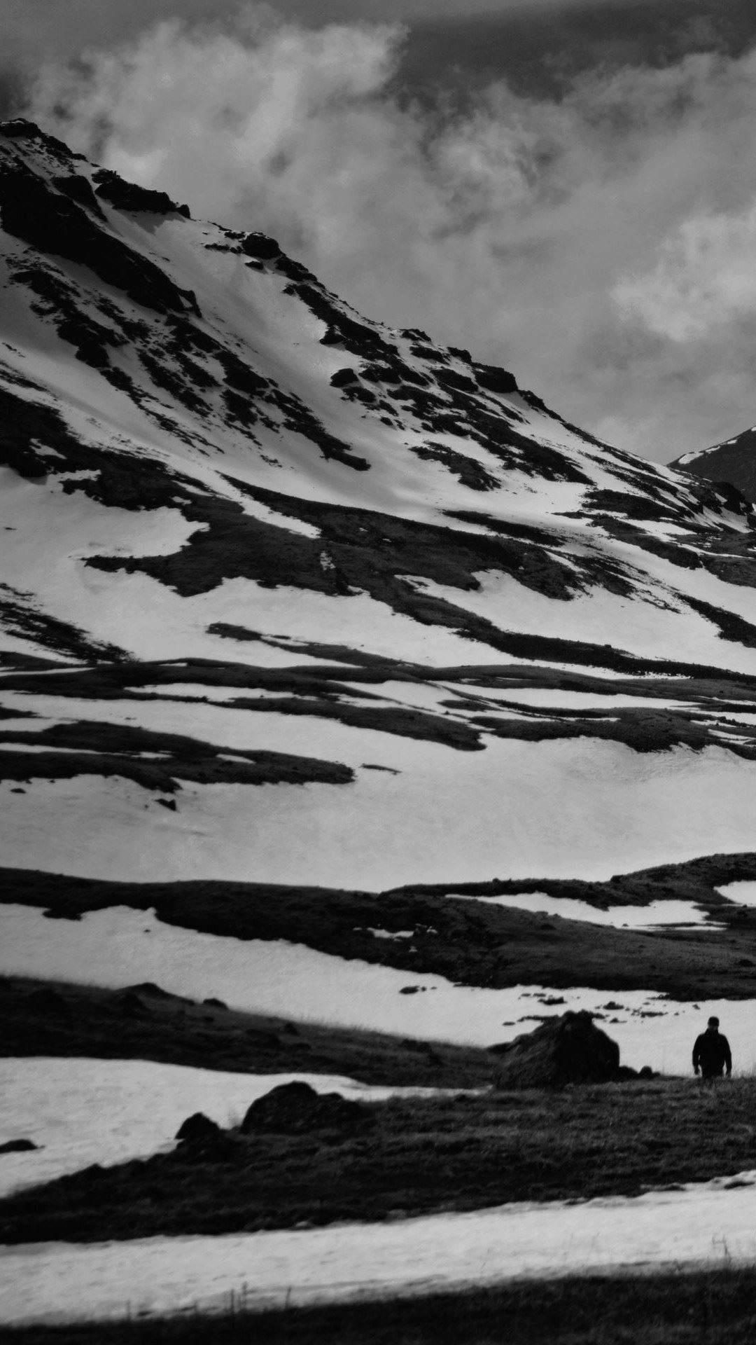 Black And White Snow Mountain Android Wallpaper …
