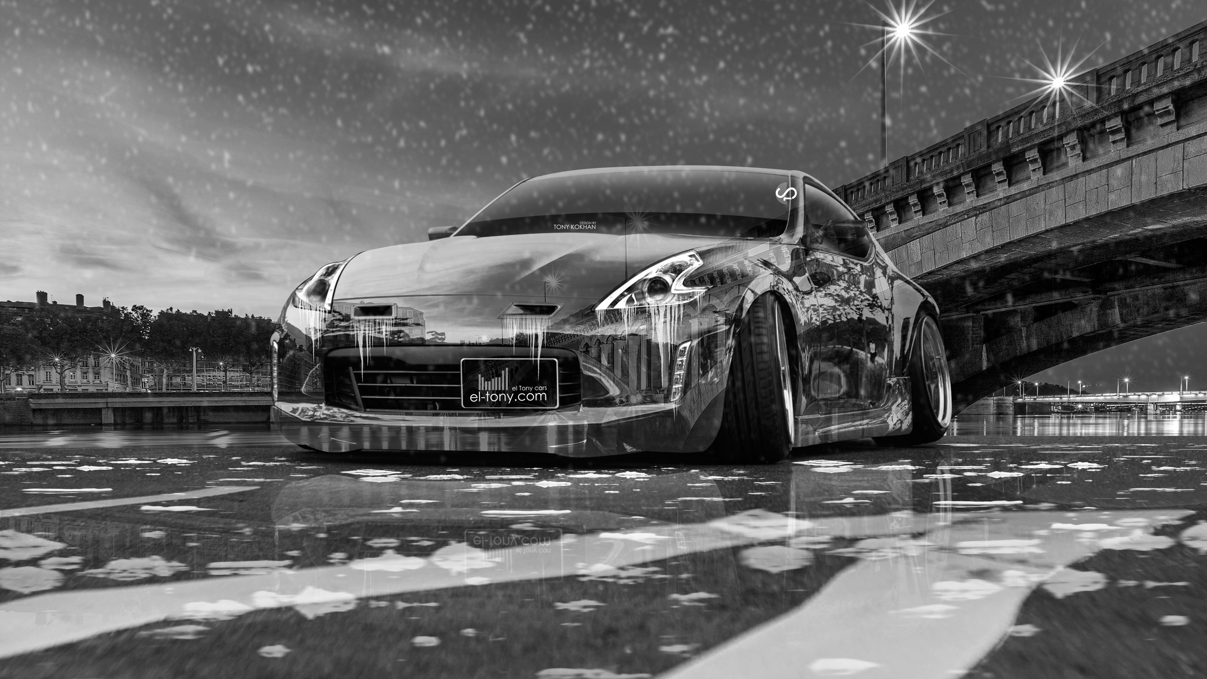 nissan 370z tuning crystal city ice snow car wallpapers 4k