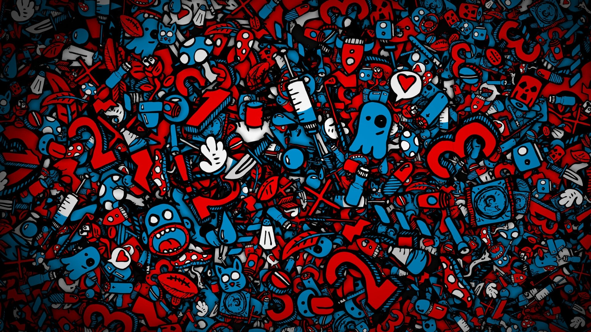 Red and Blue Collage Desktop Wallpaper
