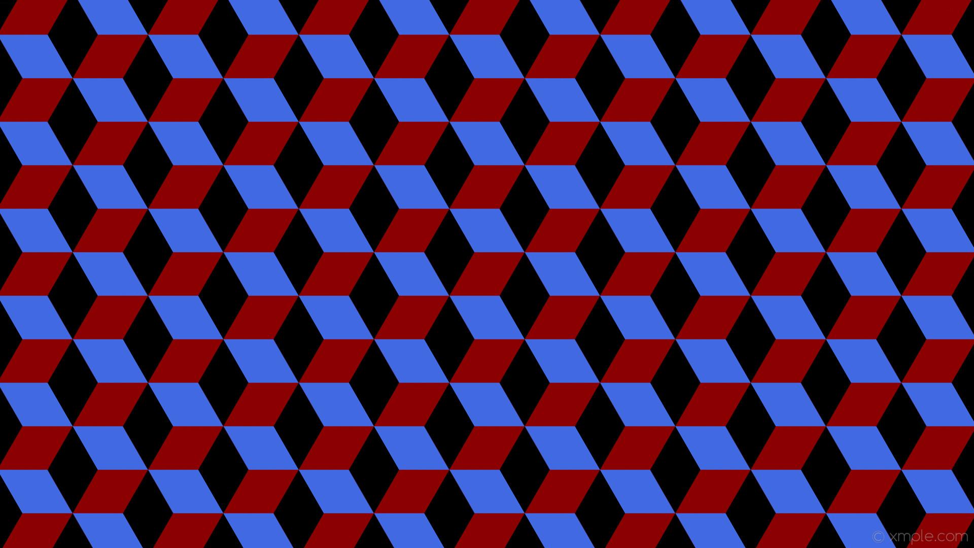 wallpaper blue 3d cubes red black dark red royal blue #8b0000 #4169e1  #000000