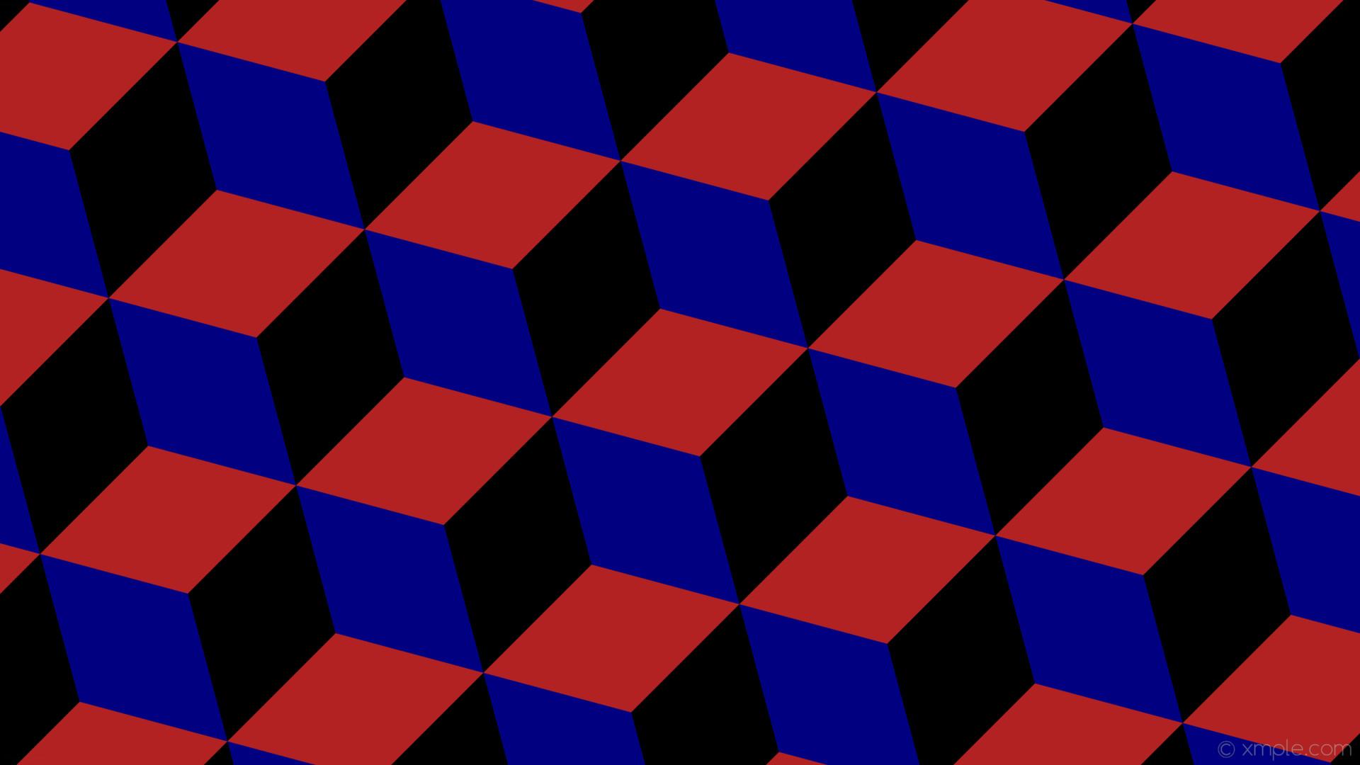 wallpaper blue 3d cubes black red fire brick navy #b22222 #000080 #000000  195
