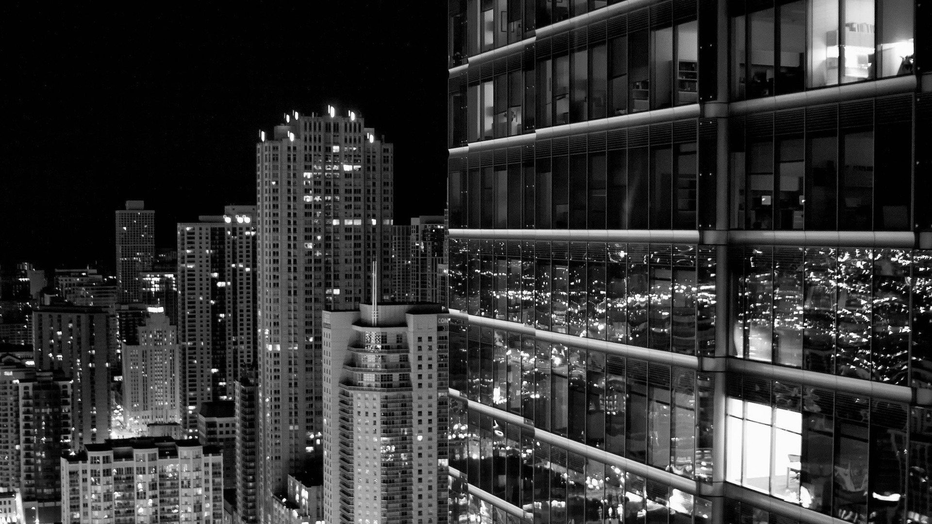Preview wallpaper skyscraper, city, black white 1920×1080