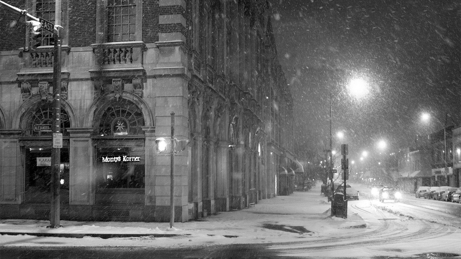 Download Wallpaper City, Street, Snow, Winter, Lane .
