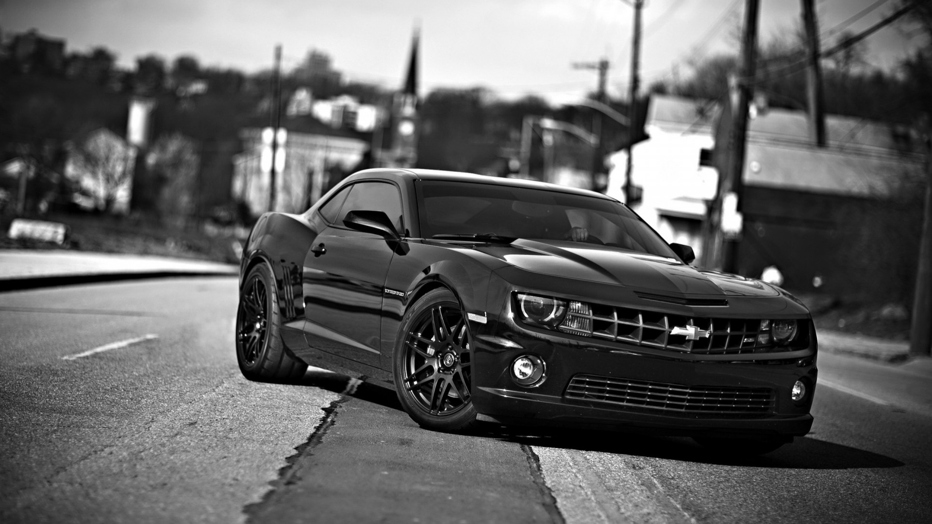 Preview wallpaper chevrolet camaro, chevrolet, cars, front view, black white  1920×1080