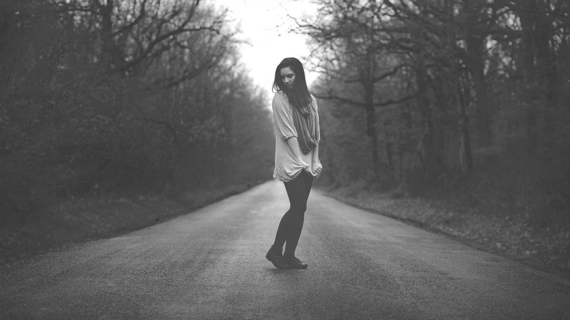 Wallpaper girl, road, stand, field, black white