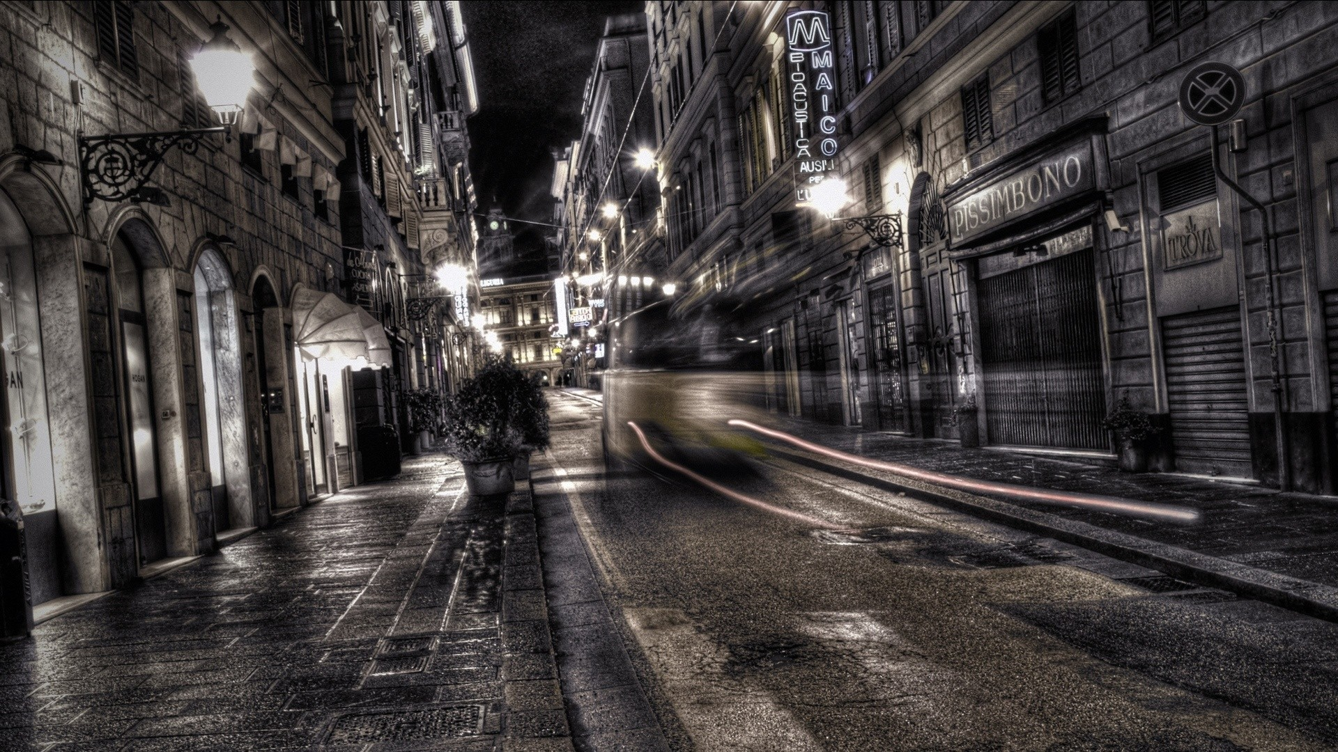 Wallpaper city, black white, road, street, night, traffic, hdr