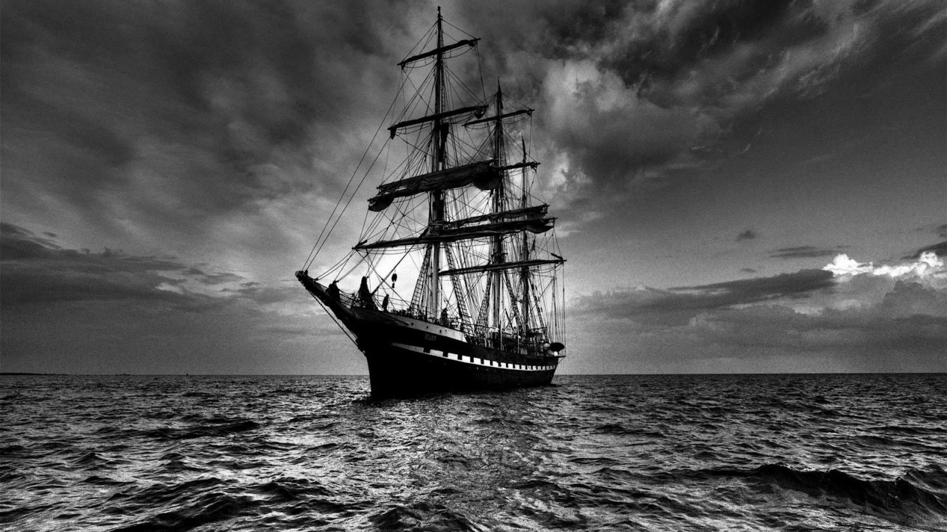 Preview wallpaper ship, sea, sail, storm, black white 1920×1080
