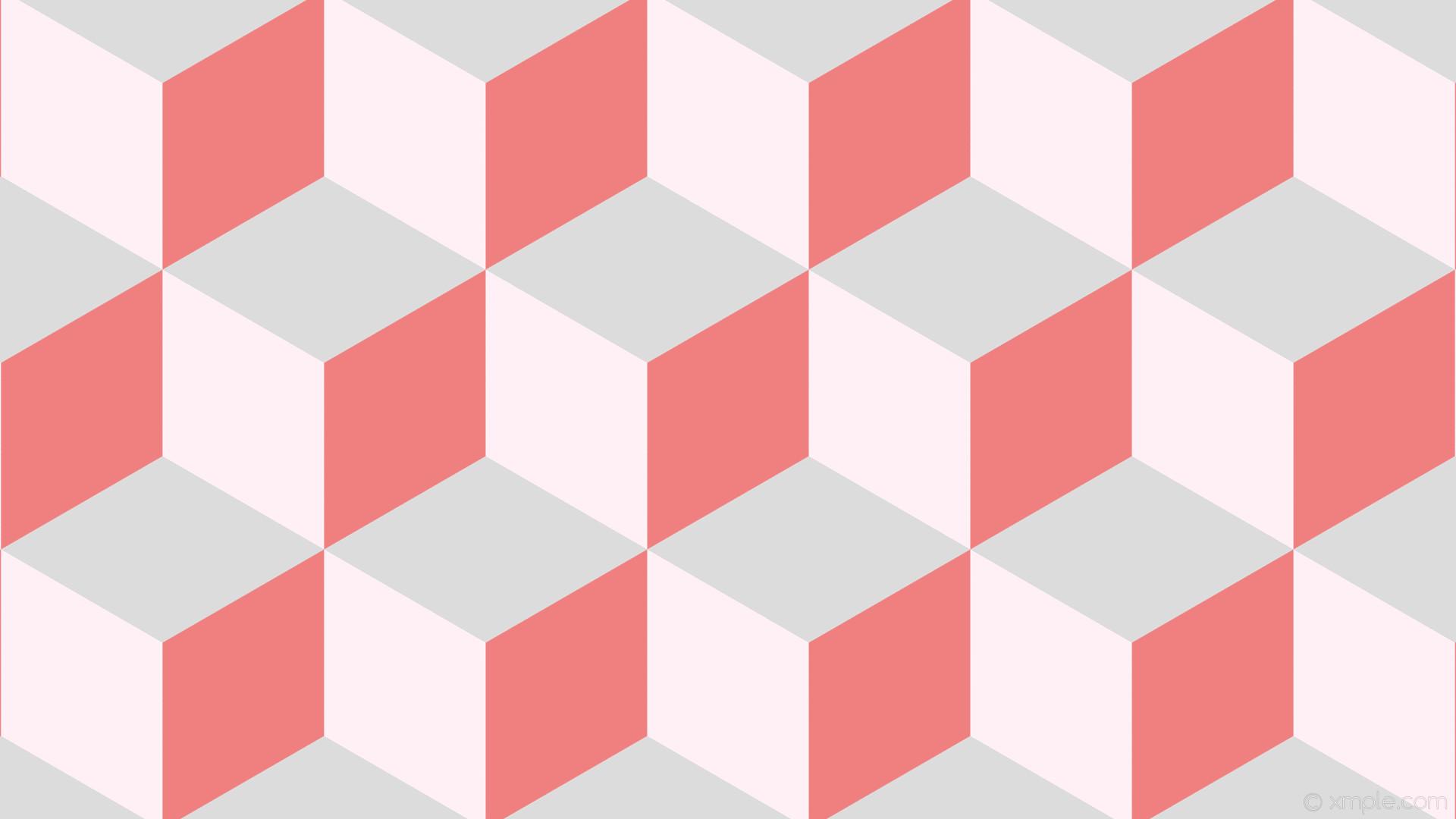 wallpaper grey 3d cubes white red light coral gainsboro lavender blush  #f08080 #dcdcdc #
