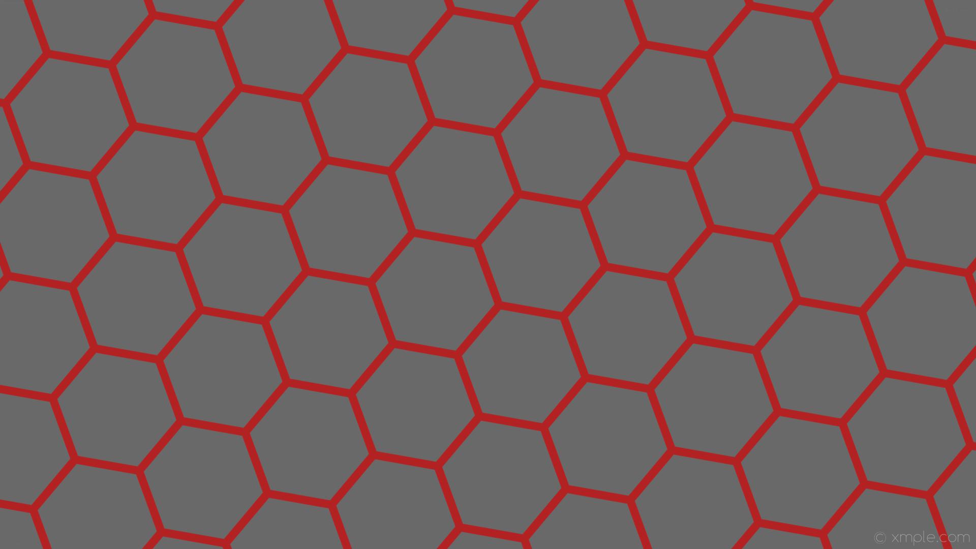 wallpaper hexagon beehive red honeycomb grey dim gray fire brick #696969  #b22222 diagonal 20