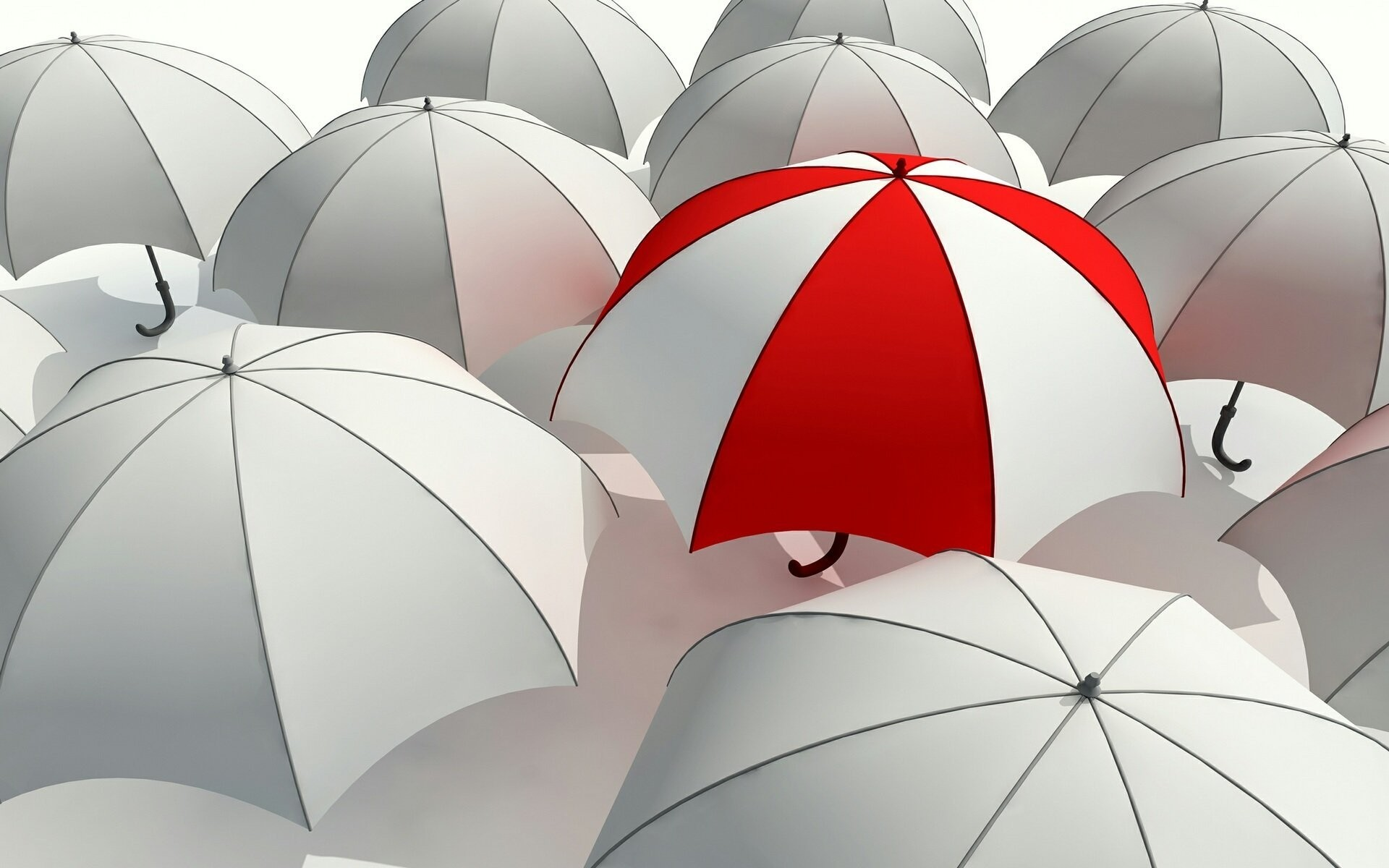 umbrella umbrella umbrella grayness contrast red white grey stand out from  the crowd