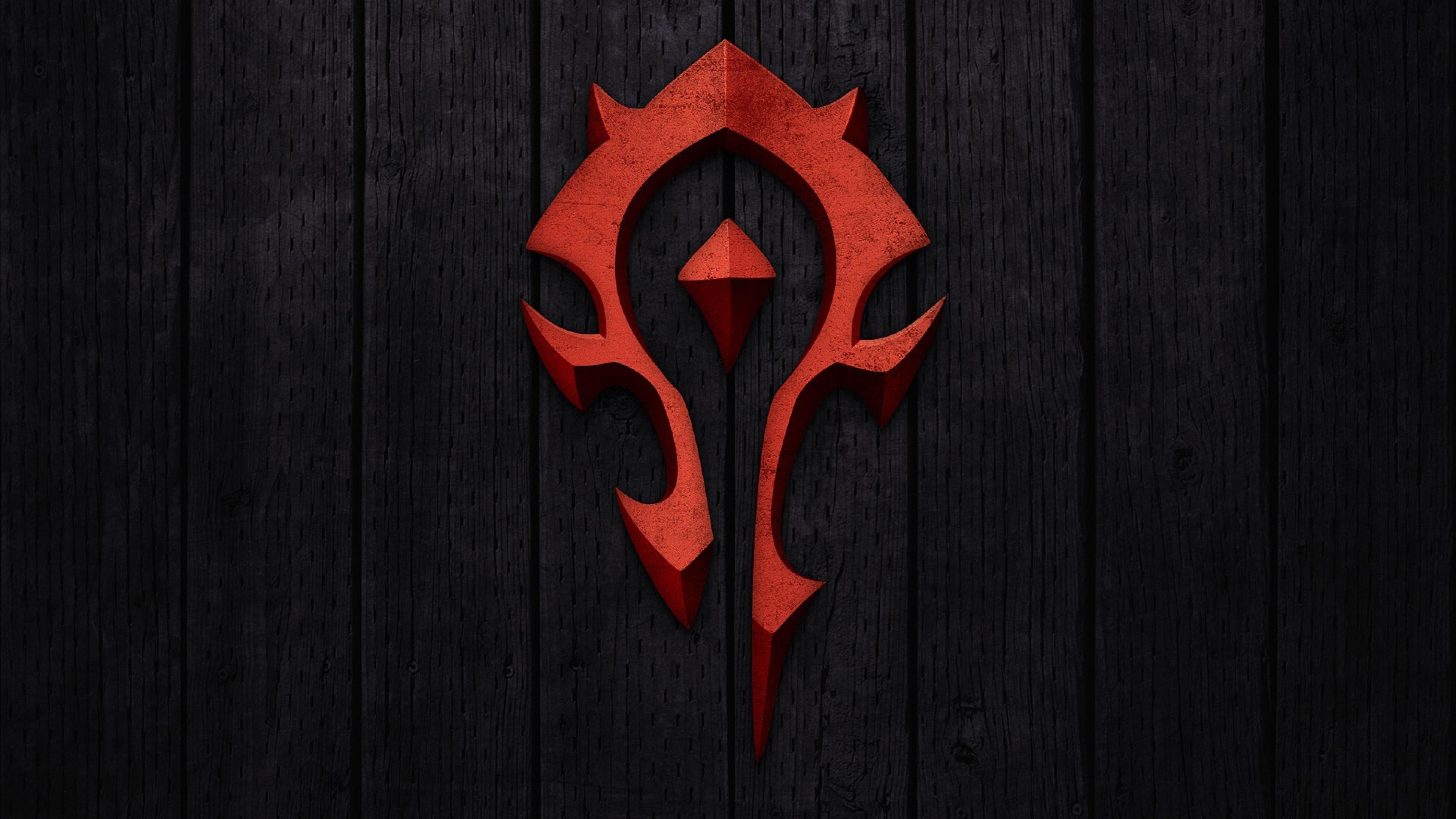 Wallpaper world of warcraft, horde, symbol, background, red