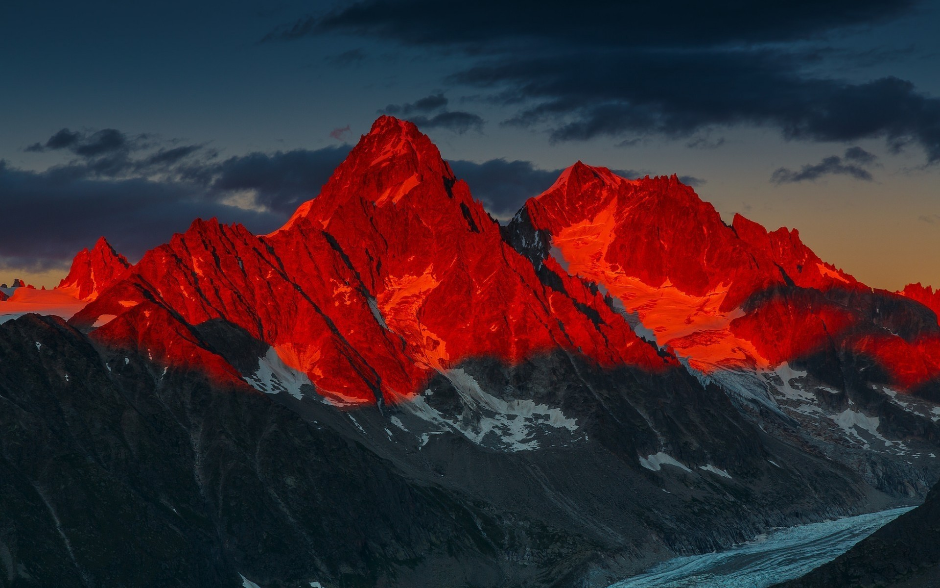 Red Sunset Over Mountains wallpaper thumb
